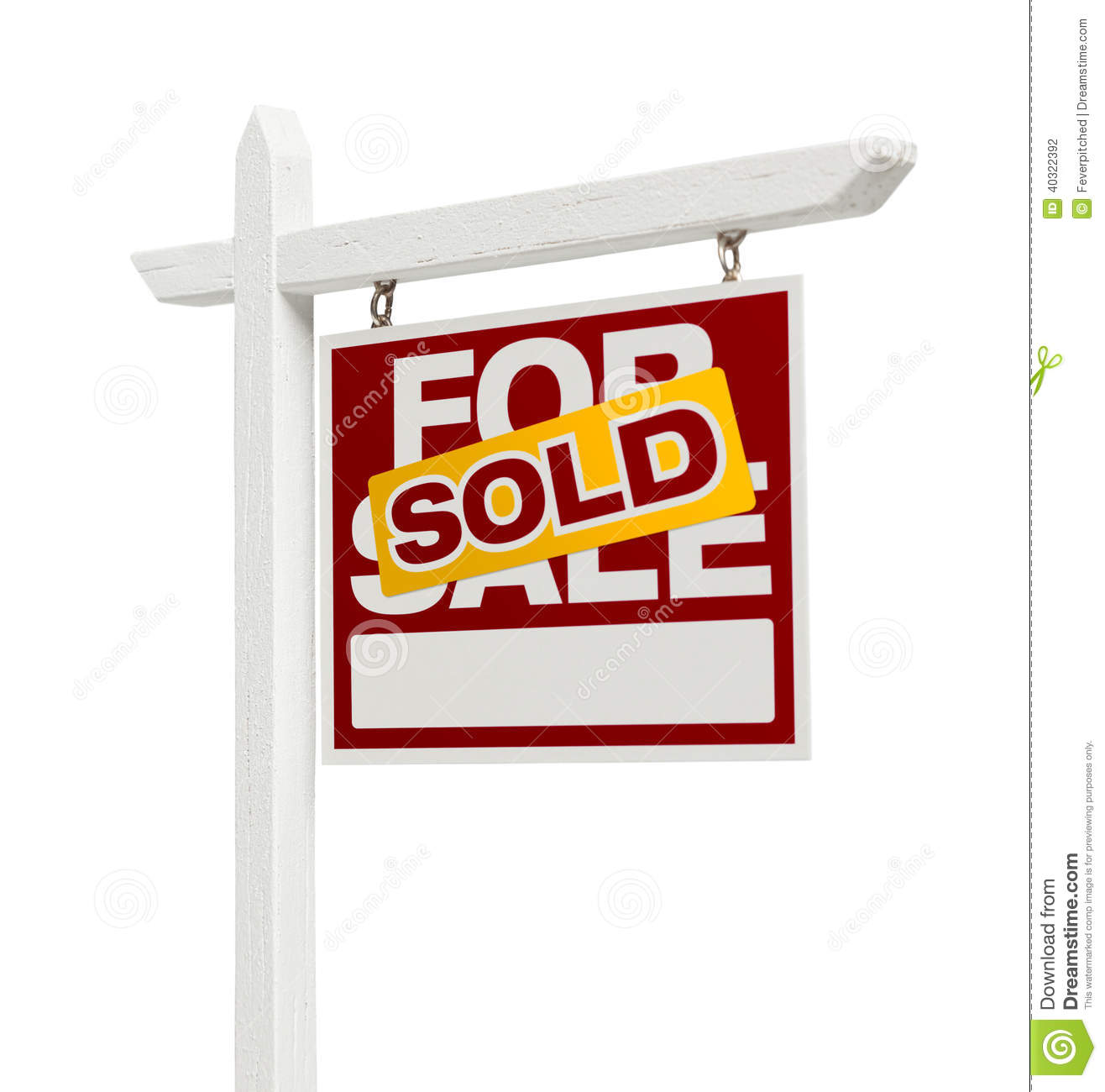 For Sale Sold Sign: Sold For Sale Real Estate Sign With Clipping Path Stock