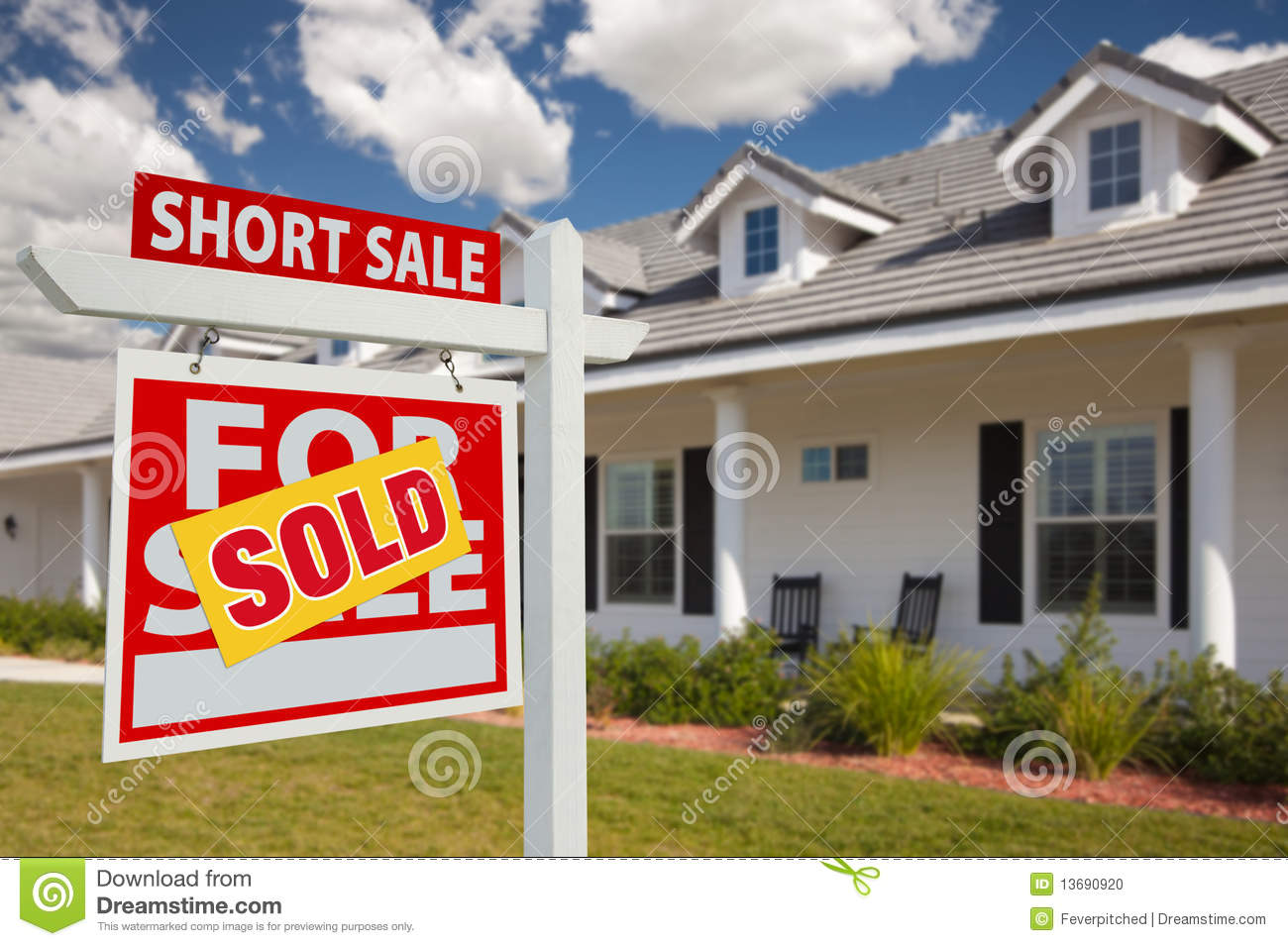 Sold Short Sale Real Estate Sign And House Left Stock