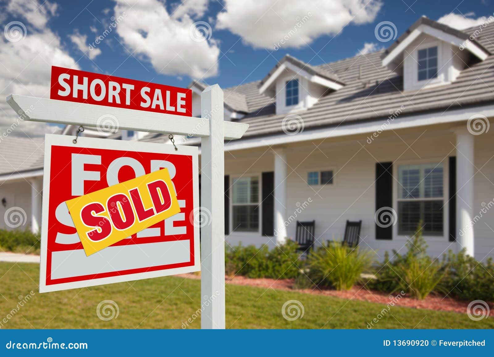 Sold short sale real estate sign and house left stock for Short sale websites for realtors