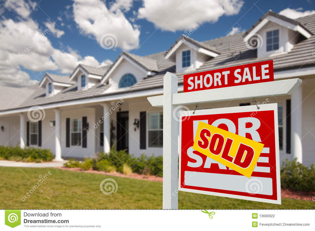 Foreclosure For Sale Real Estate Sign And House Stock