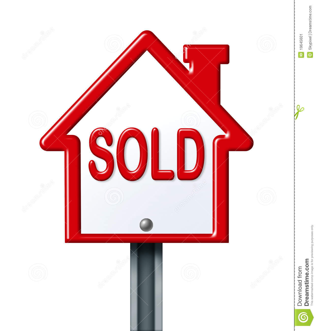 Real estate symbol for a sold home or residential house on a white ...