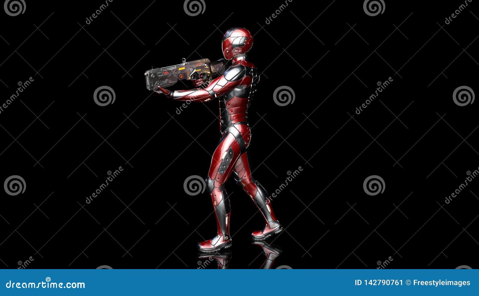 Soldado androide futurista en armadura a prueba de balas, cyborg militar armado con el arma del rifle de la ciencia ficción camin