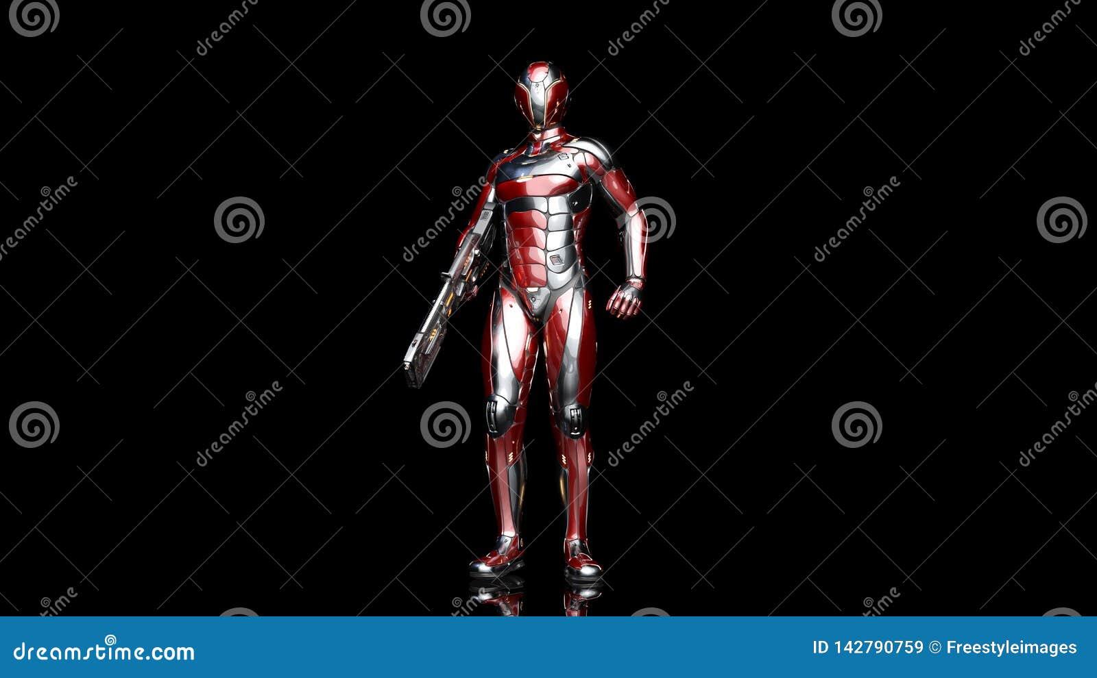 Soldado androide futurista en armadura a prueba de balas, cyborg militar armado con la situación del arma del rifle de la ciencia