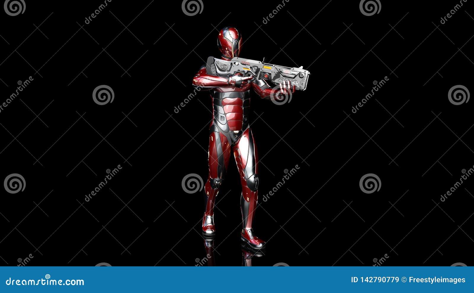 Soldado androide futurista en armadura a prueba de balas, el cyborg militar armado con la situación del arma del rifle de la cien