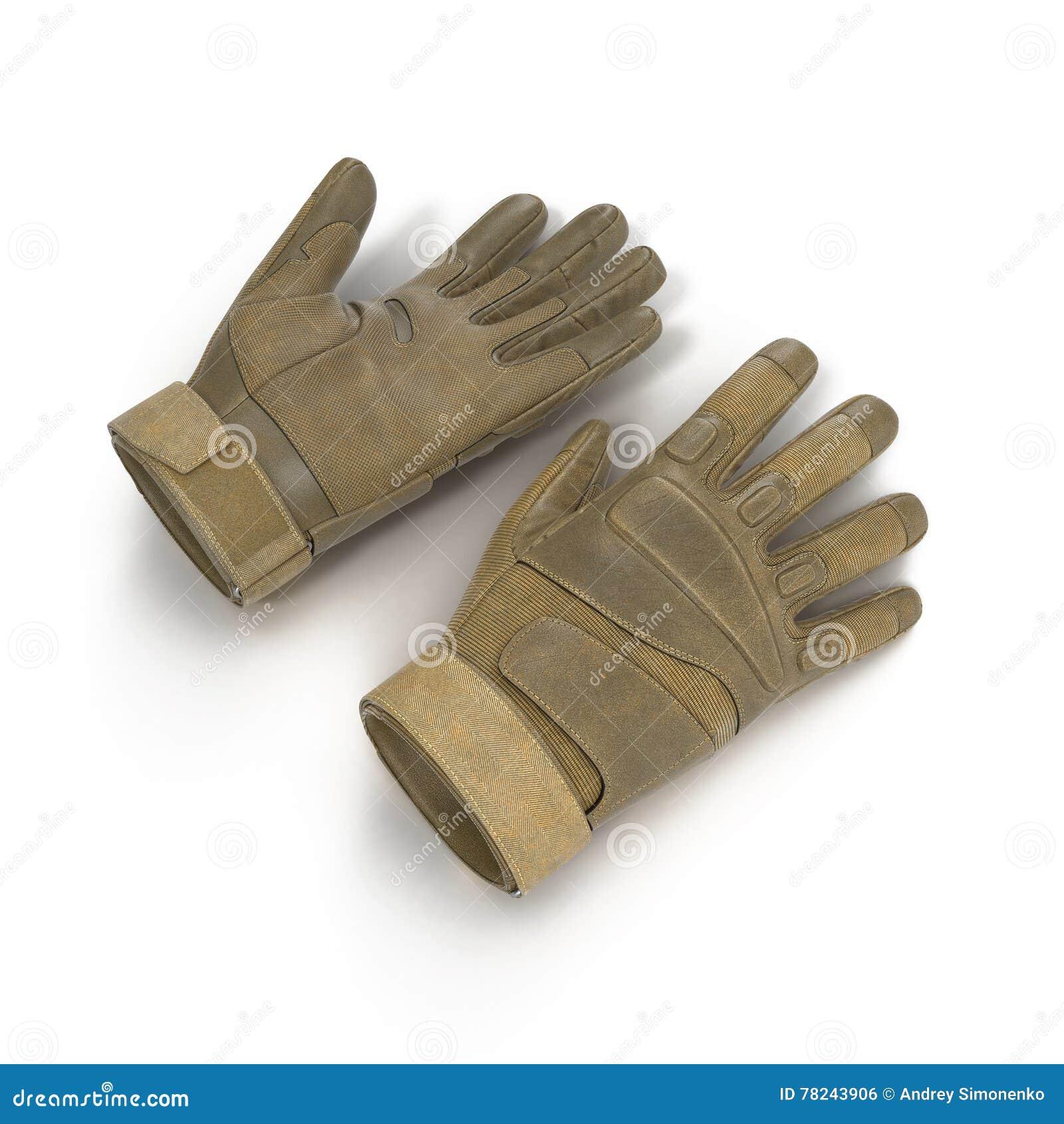 Soldado completo exterior Gloves Tan do assalto do dedo no branco ilustração 3D