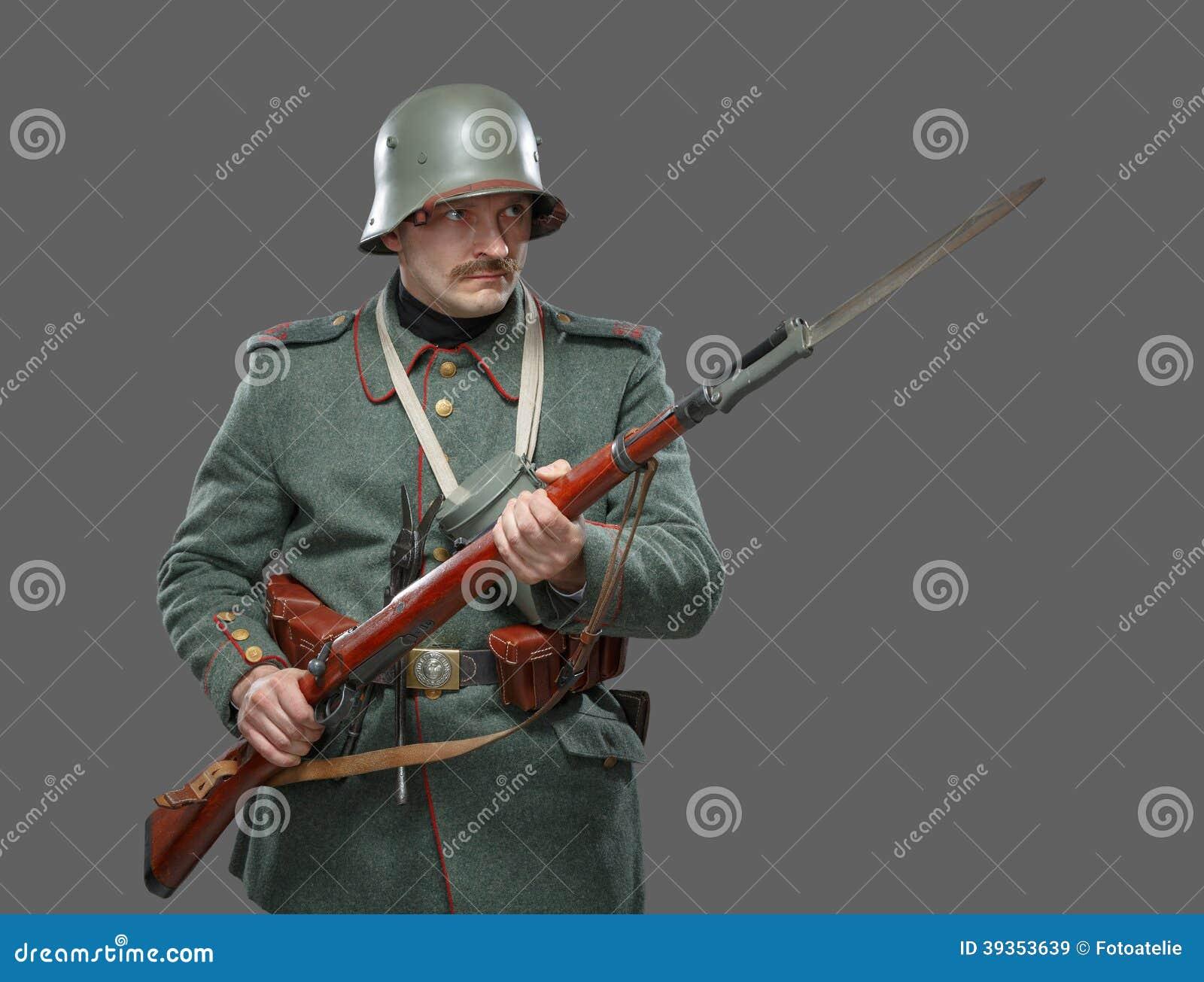 Soldado de infantería alemán durante la primera guerra mundial.