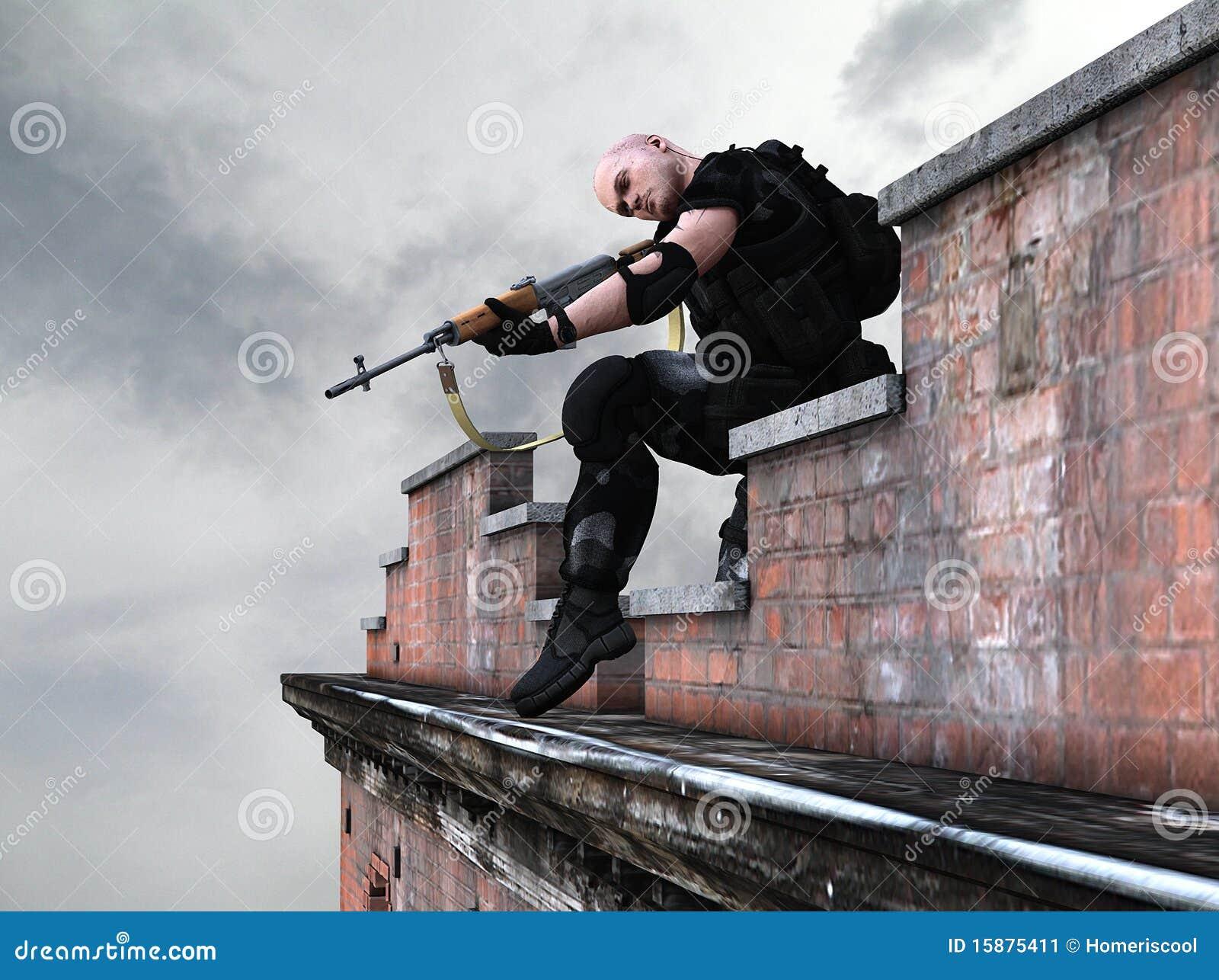 Soldado del ejército de las fuerzas especiales - francotirador
