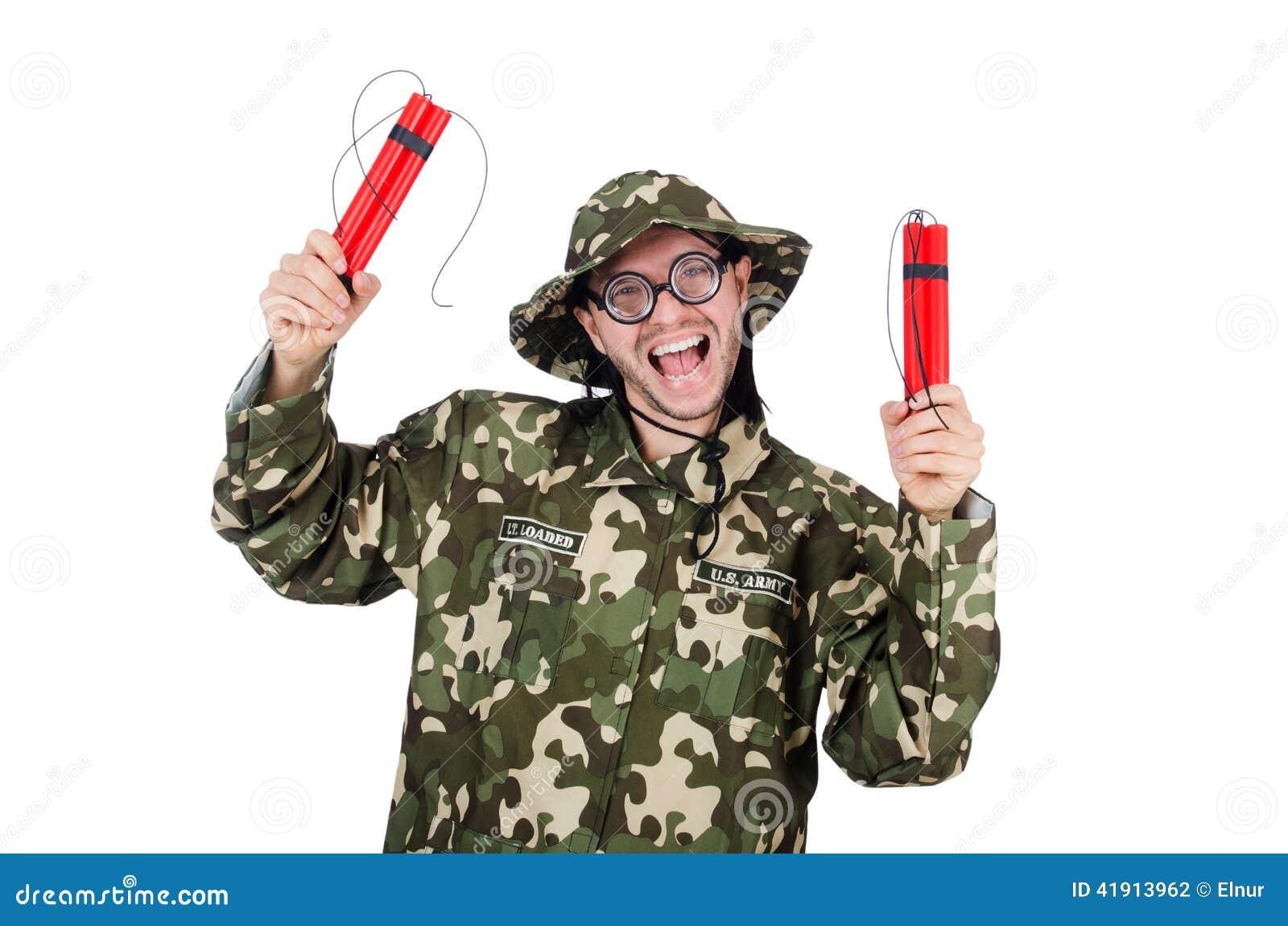 Soldado divertido aislado