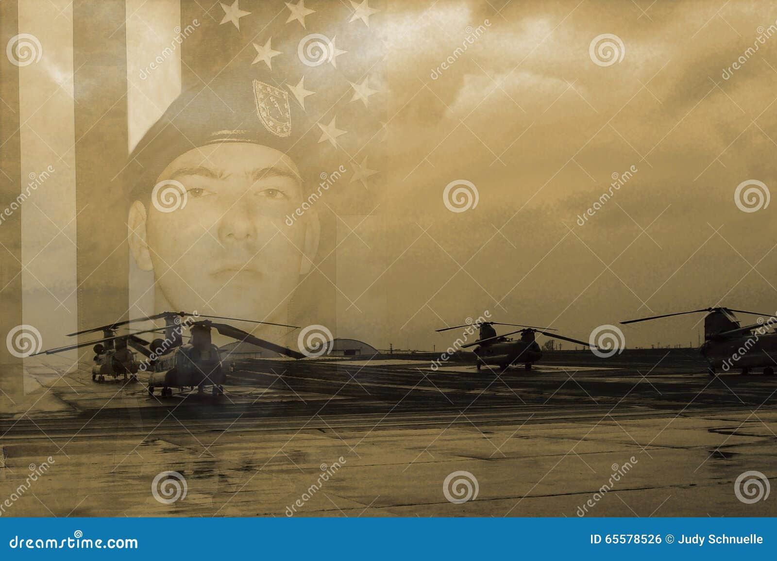Soldado e helicóptero de Chinook