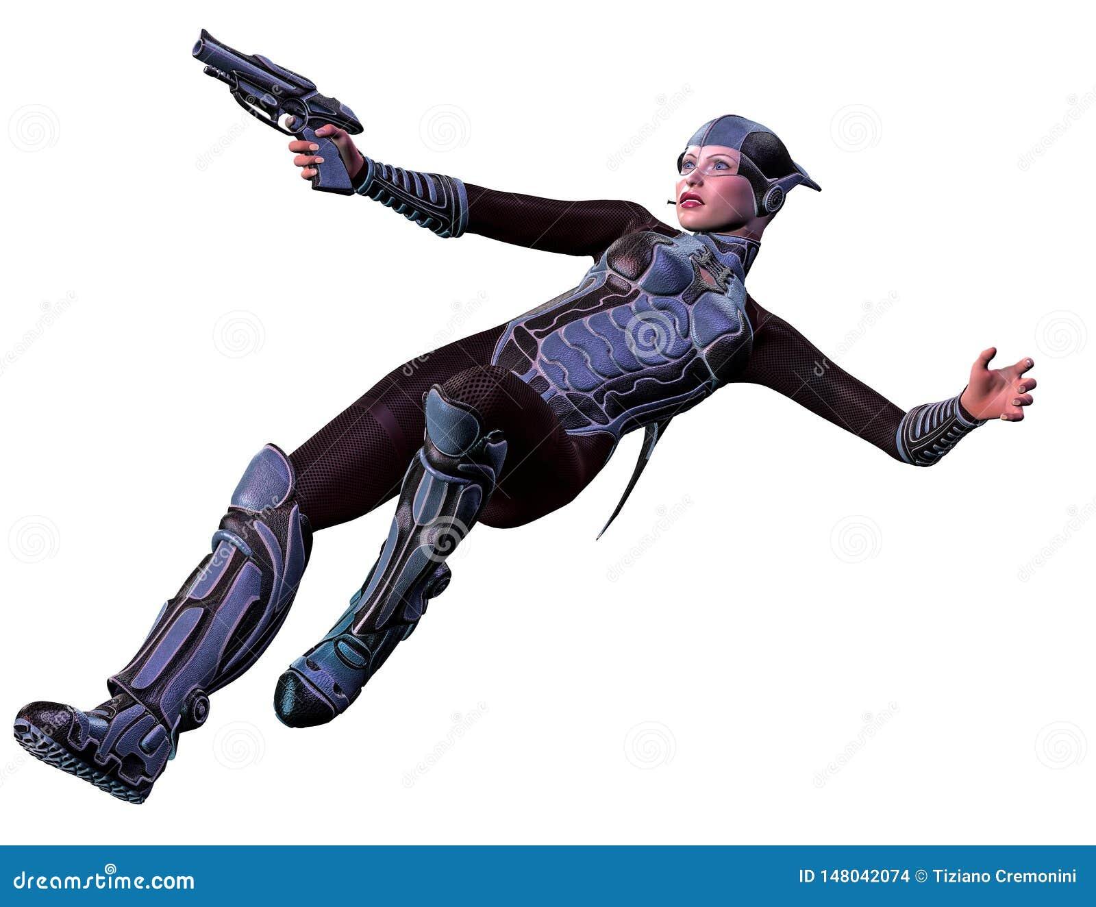Soldado futurista de la mujer, armado con el arma, ejemplo 3d