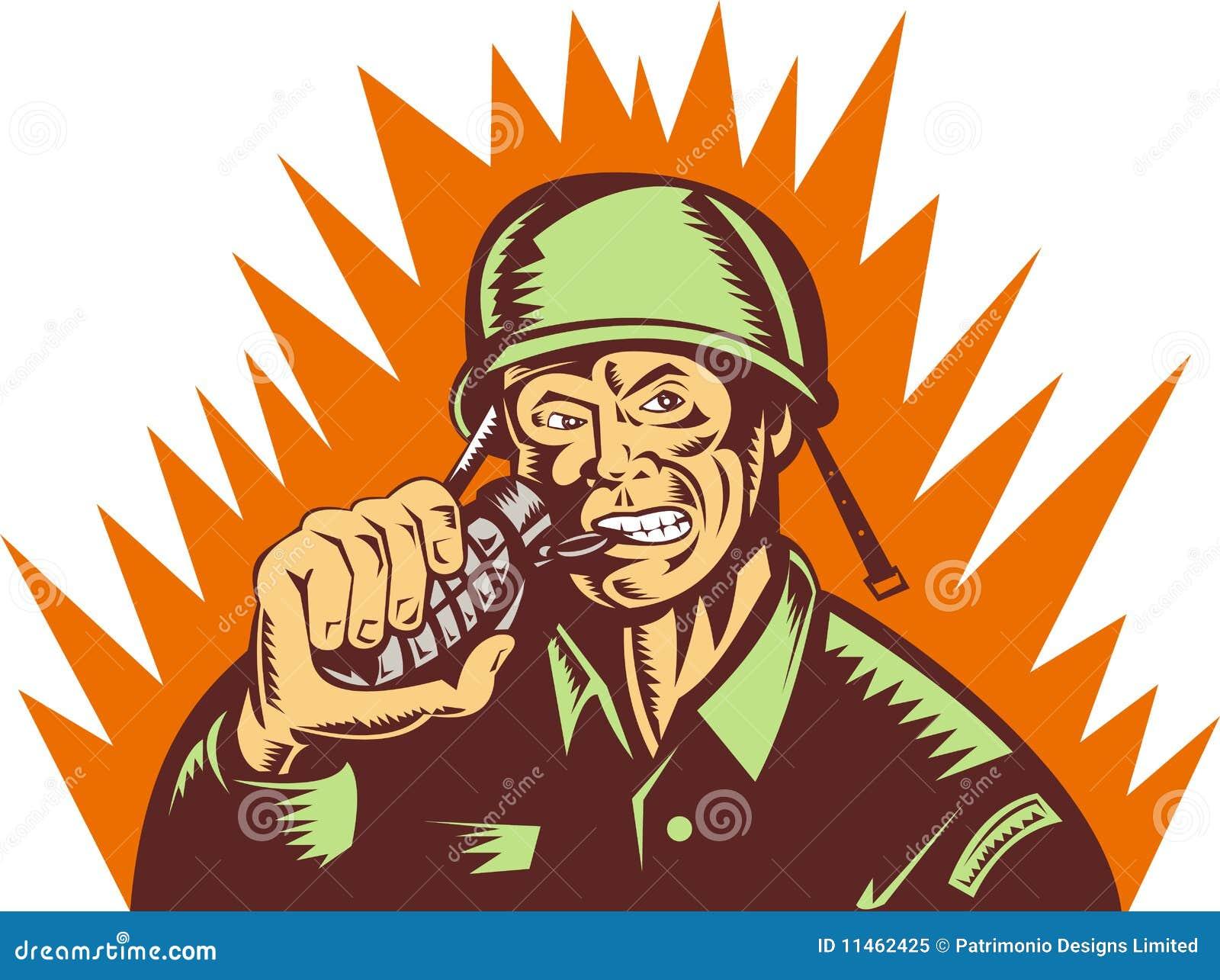 Soldado que tira de la granada de mano del contacto