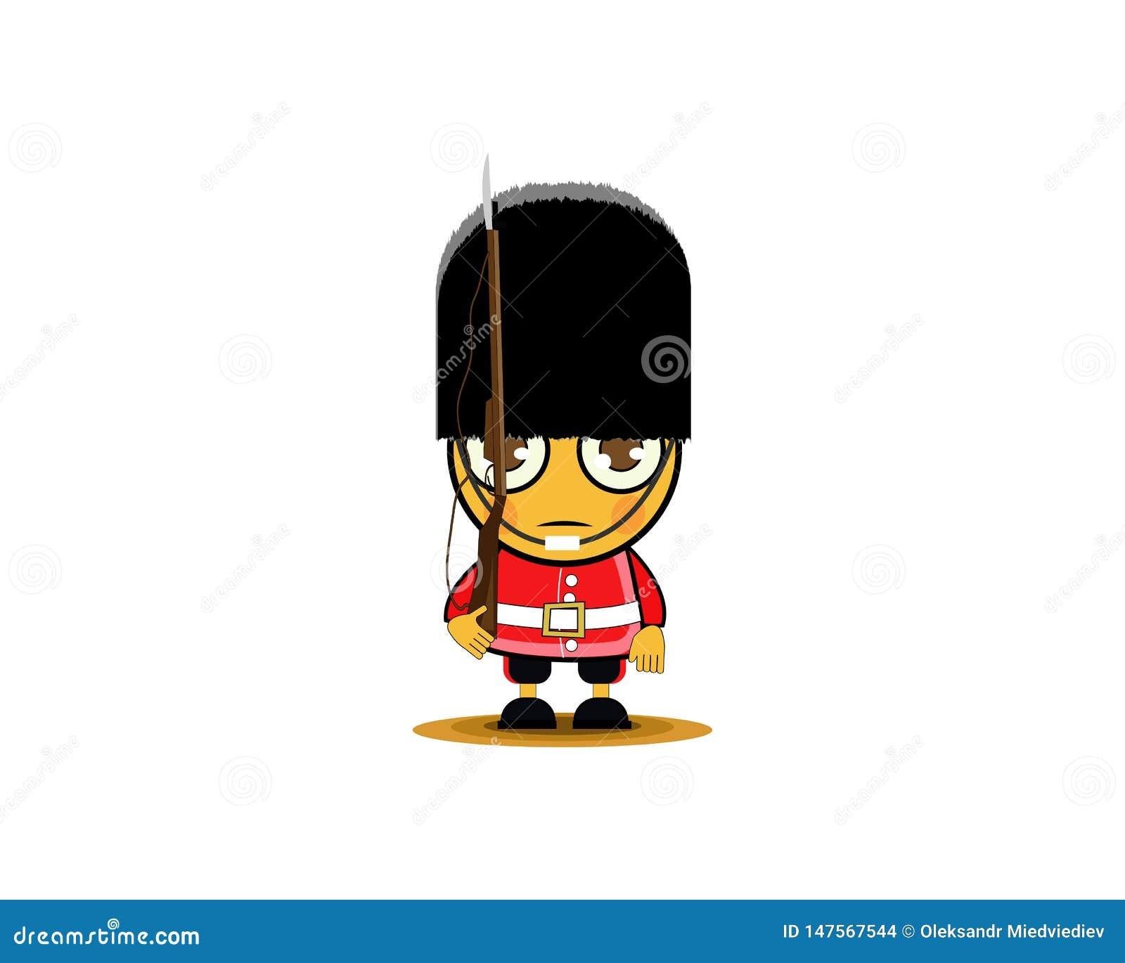 Soldado real británico de la historieta con el arma Ilustraci?n del vector