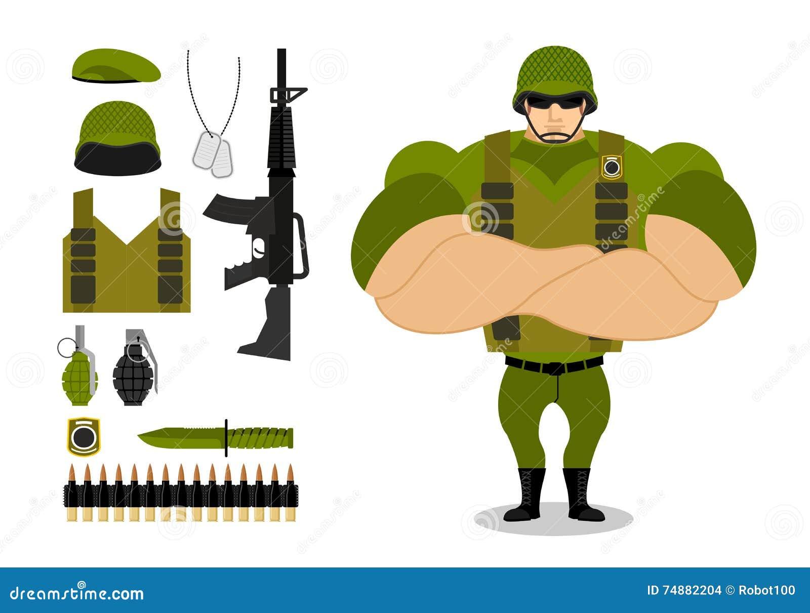 Soldados e armas Grupo de munição militar para a guerra Exército c