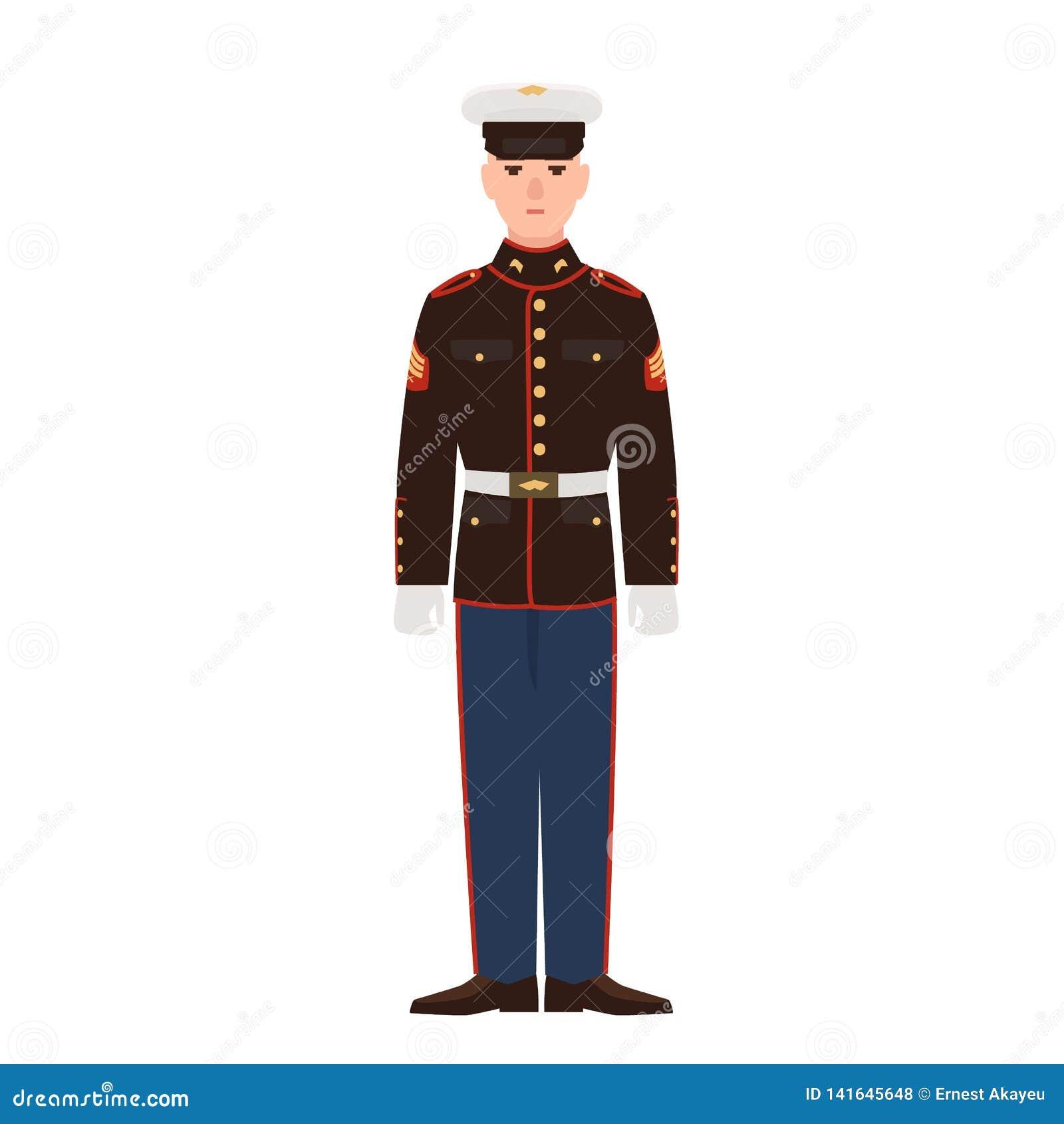 Soldat av USA beväpnad styrka som bär för att ståta likformign och locket Amerikansk militär man, sergeant eller infanterist som