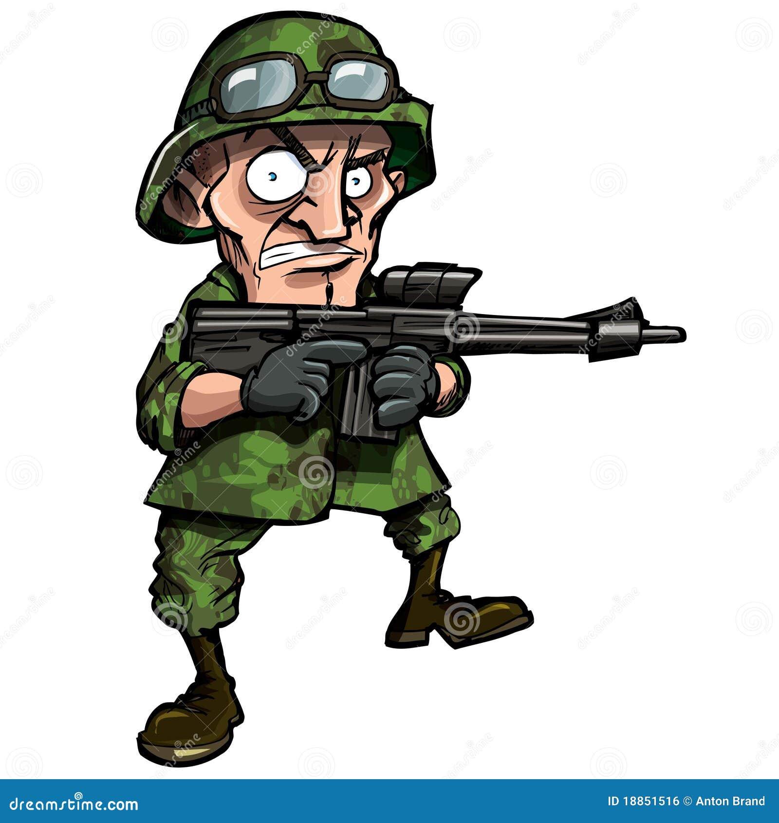 Soldat de dessin anim d 39 isolement sur le blanc illustration de vecteur illustration du guerre - Dessin de soldat ...