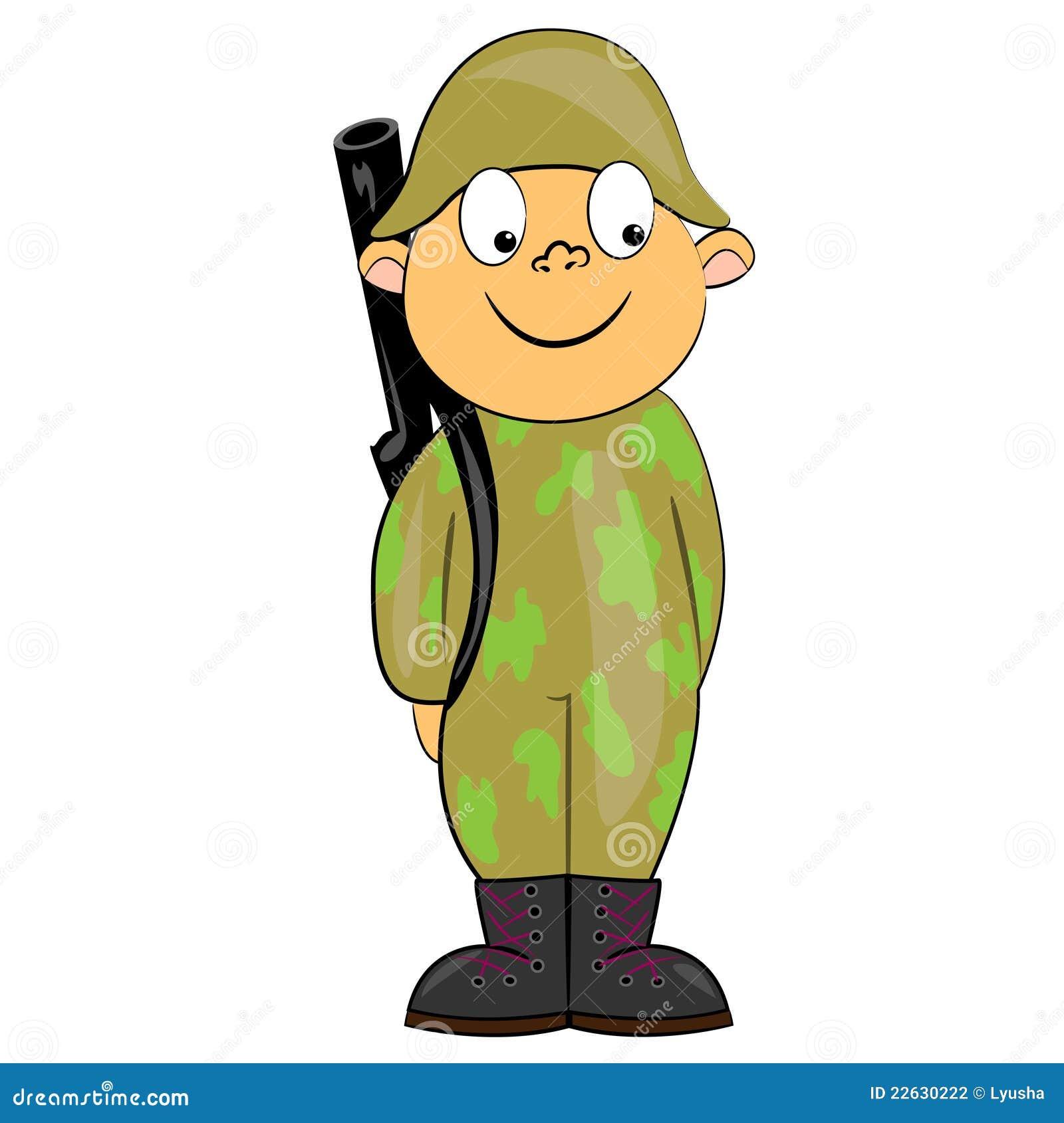Soldat de dessin anim restant avec le canon image photographie stock image 22630222 - Dessin de soldat ...