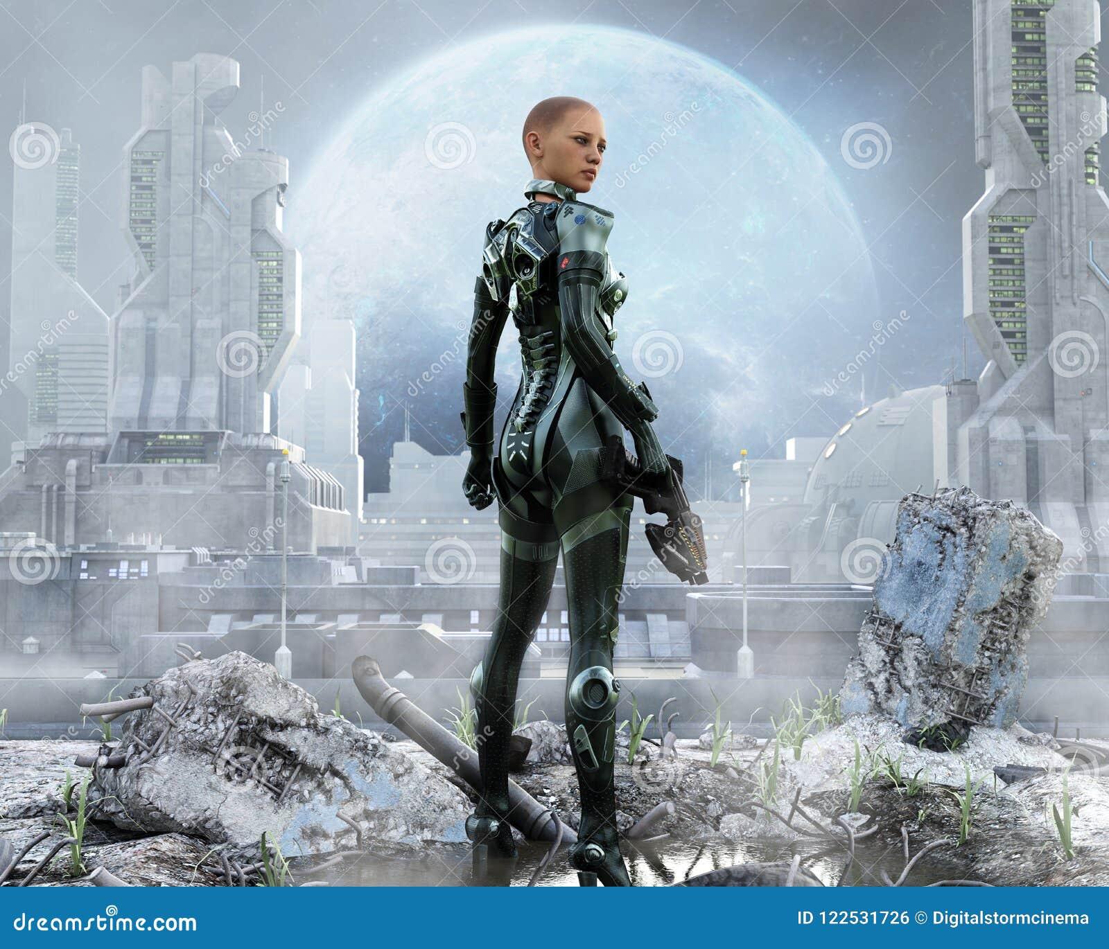 Soldat féminin blindé posant devant une ville futuriste