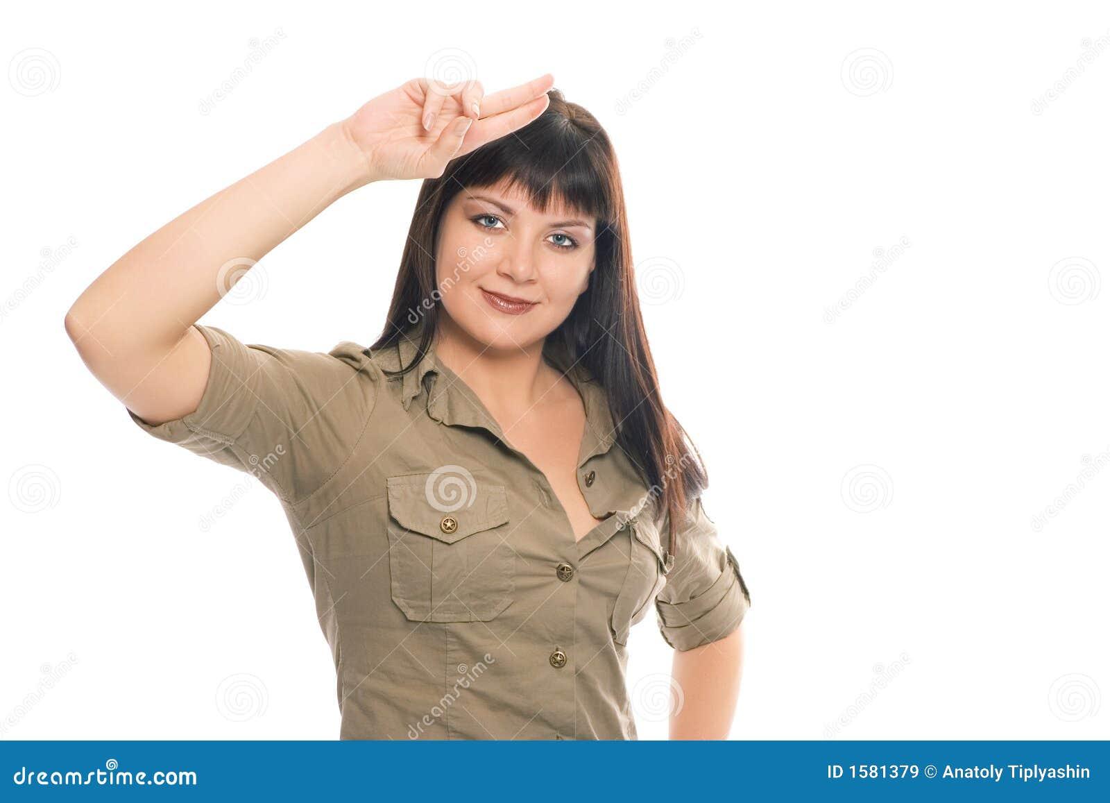 Soldat för honnör för skönhetbrunettflicka