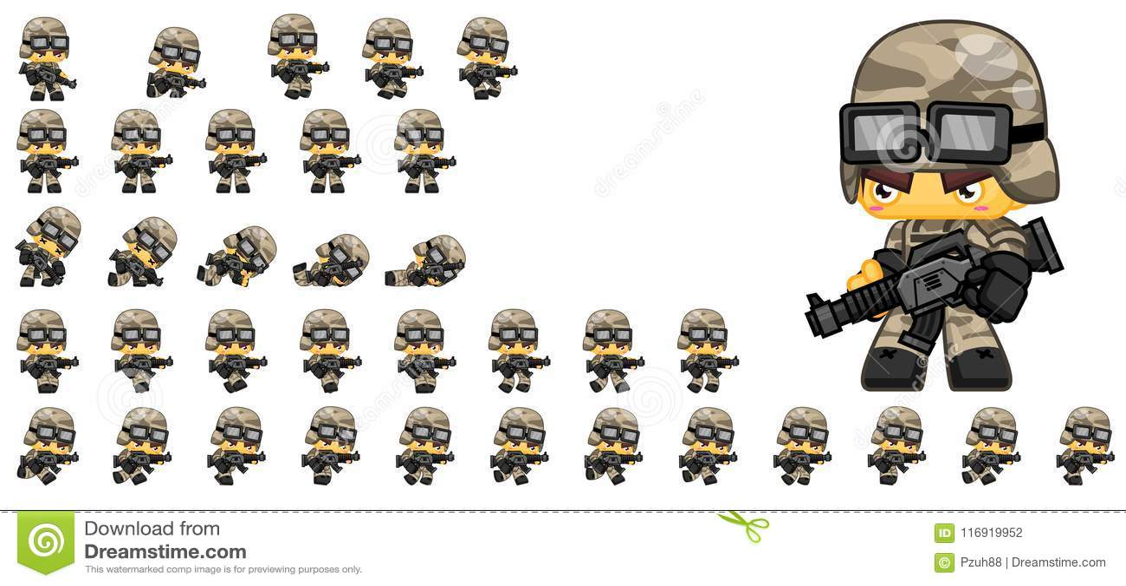 Soldat mignon Character Sprites