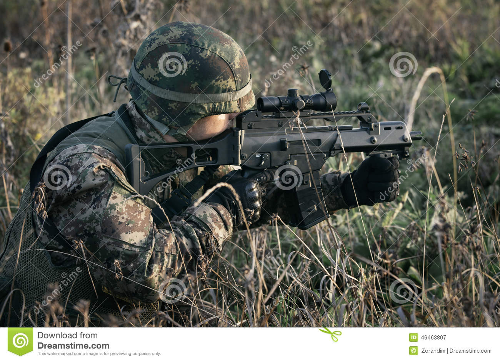 Soldat på kriget i träsket