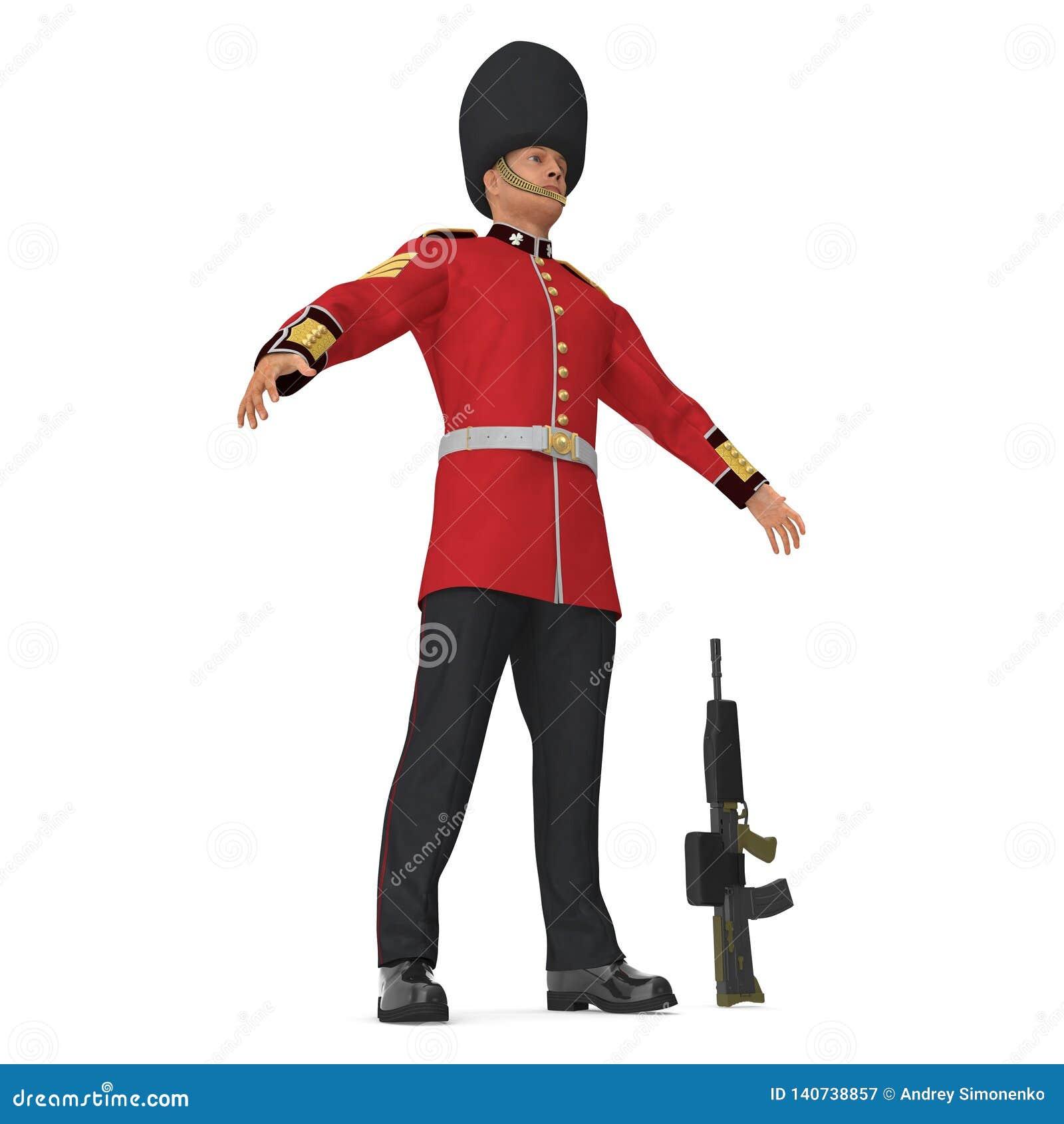Soldat Royal Britannique Standing Pose Isolated De Garde Sur