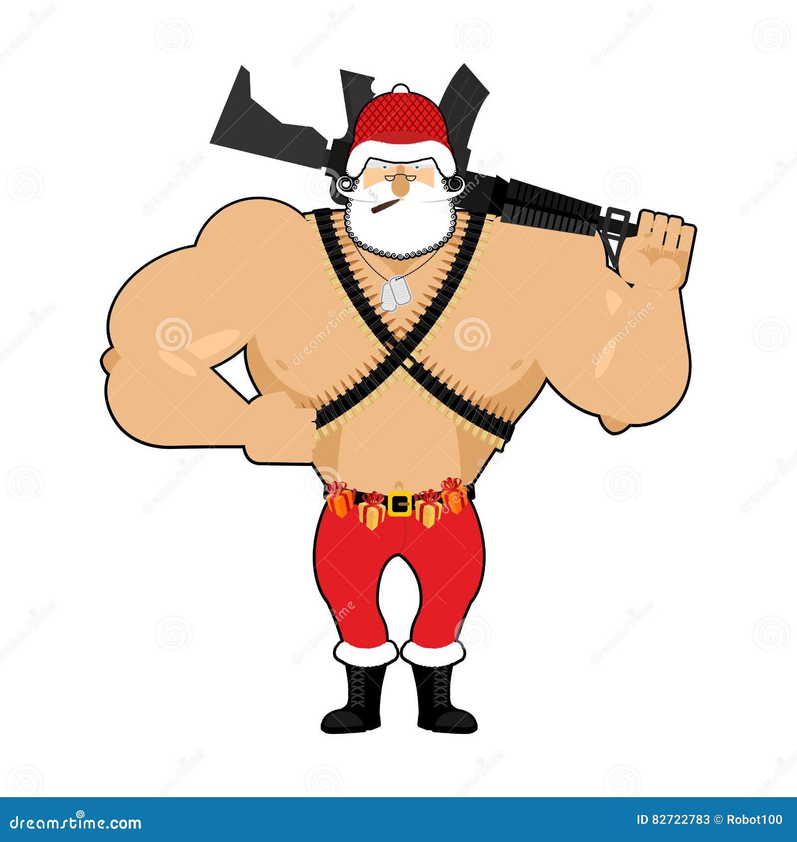 Soldat Santa Mit Munition Armee Klaus Weihnachtskrieg Defend Vektor ...
