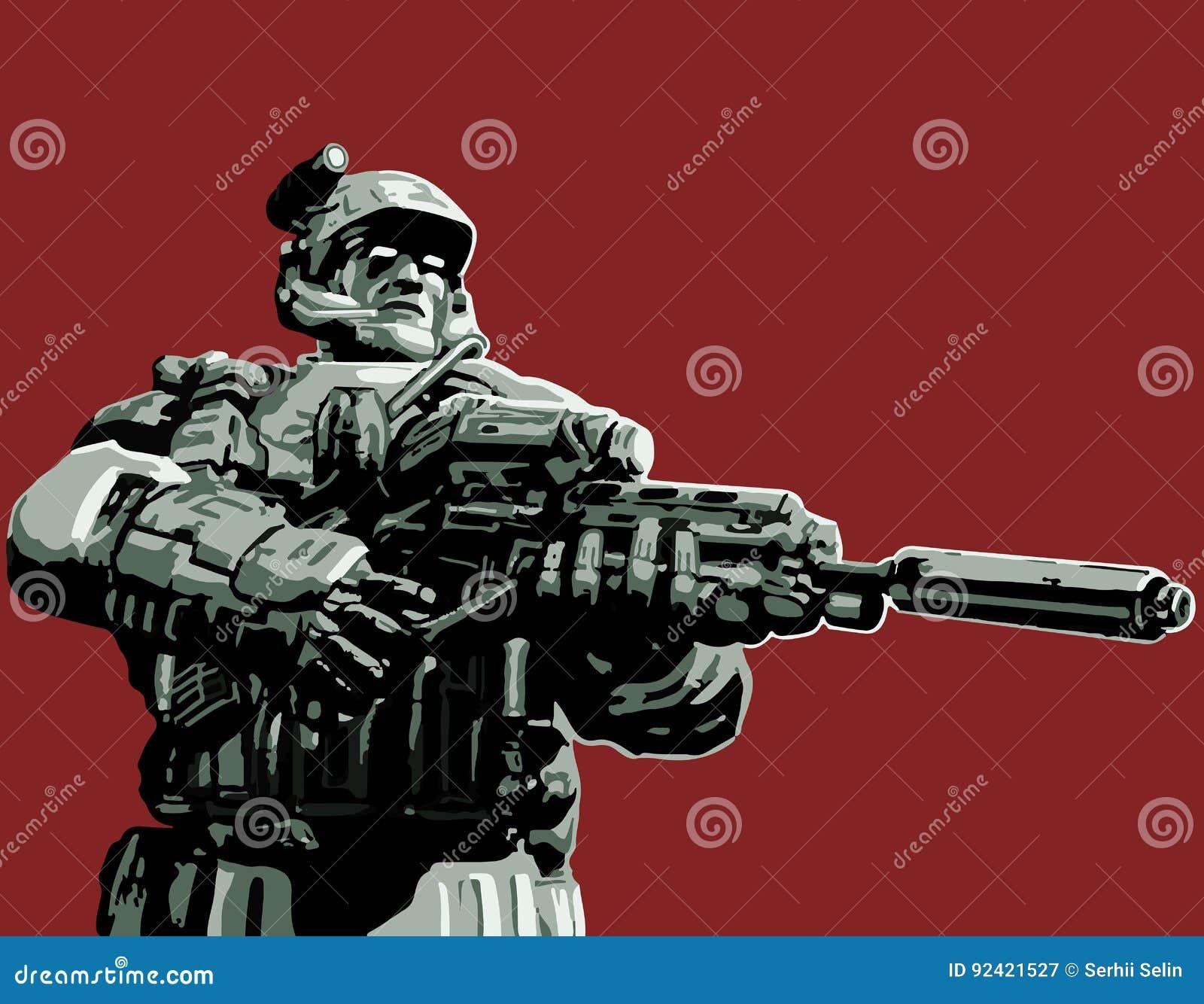Soldaten i dräkten med ett plasmagevär också vektor för coreldrawillustration