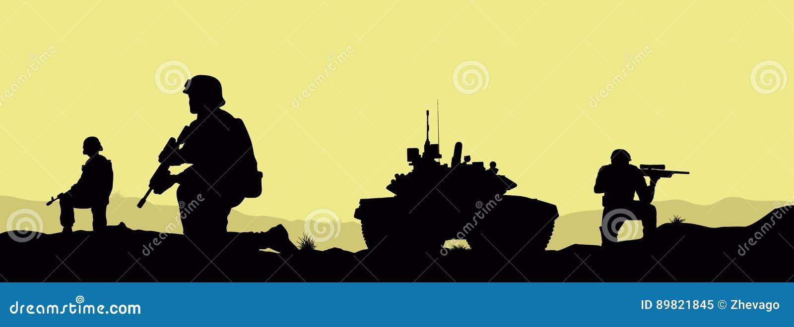 Soldater och en behållare