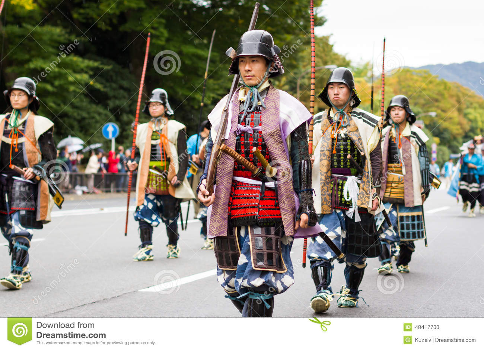 Soldater på den Jidai Matsuri festivalen