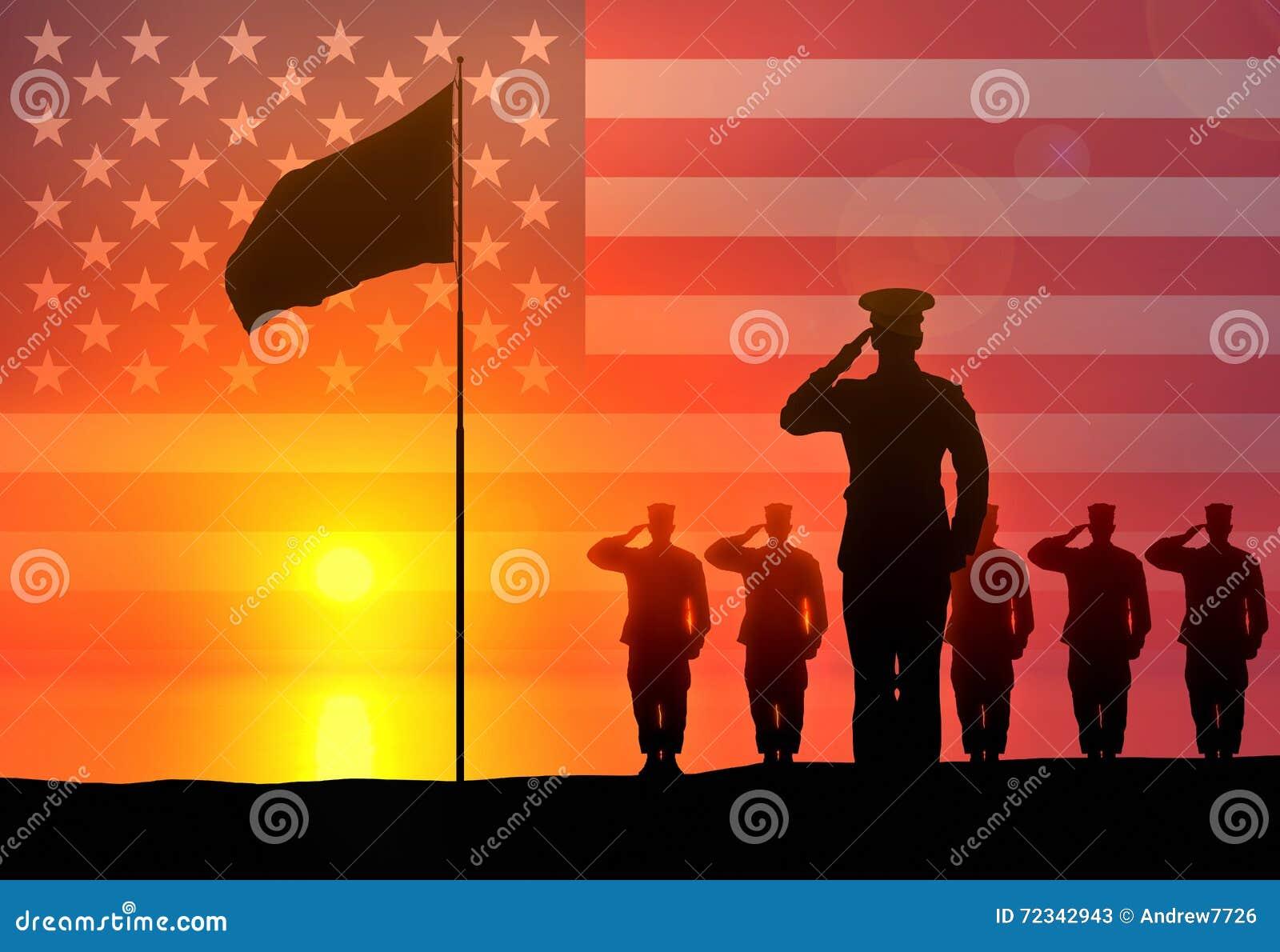 Soldater saluterar lyfta för flagga