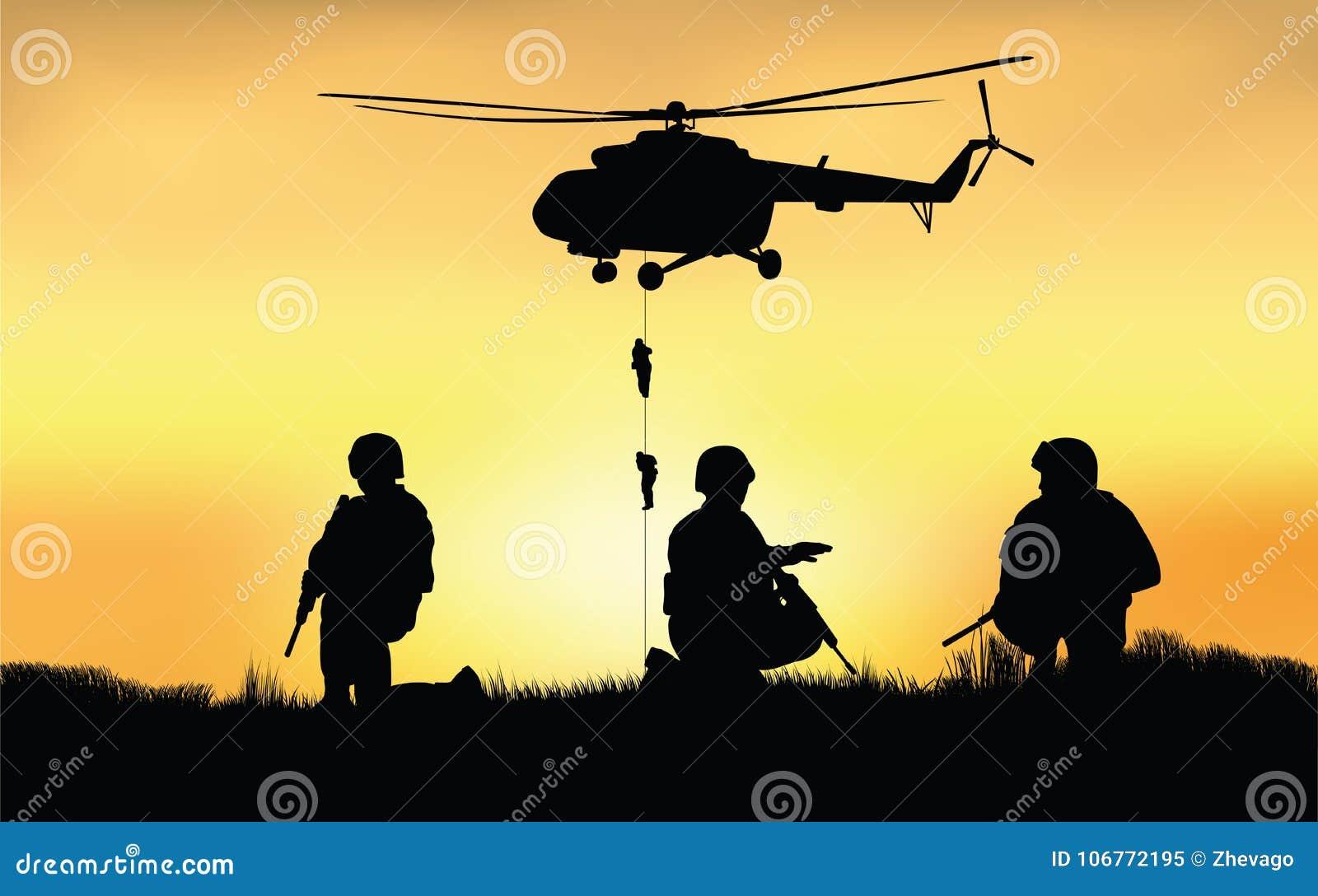 Soldati sulla prestazione della missione di combattimento