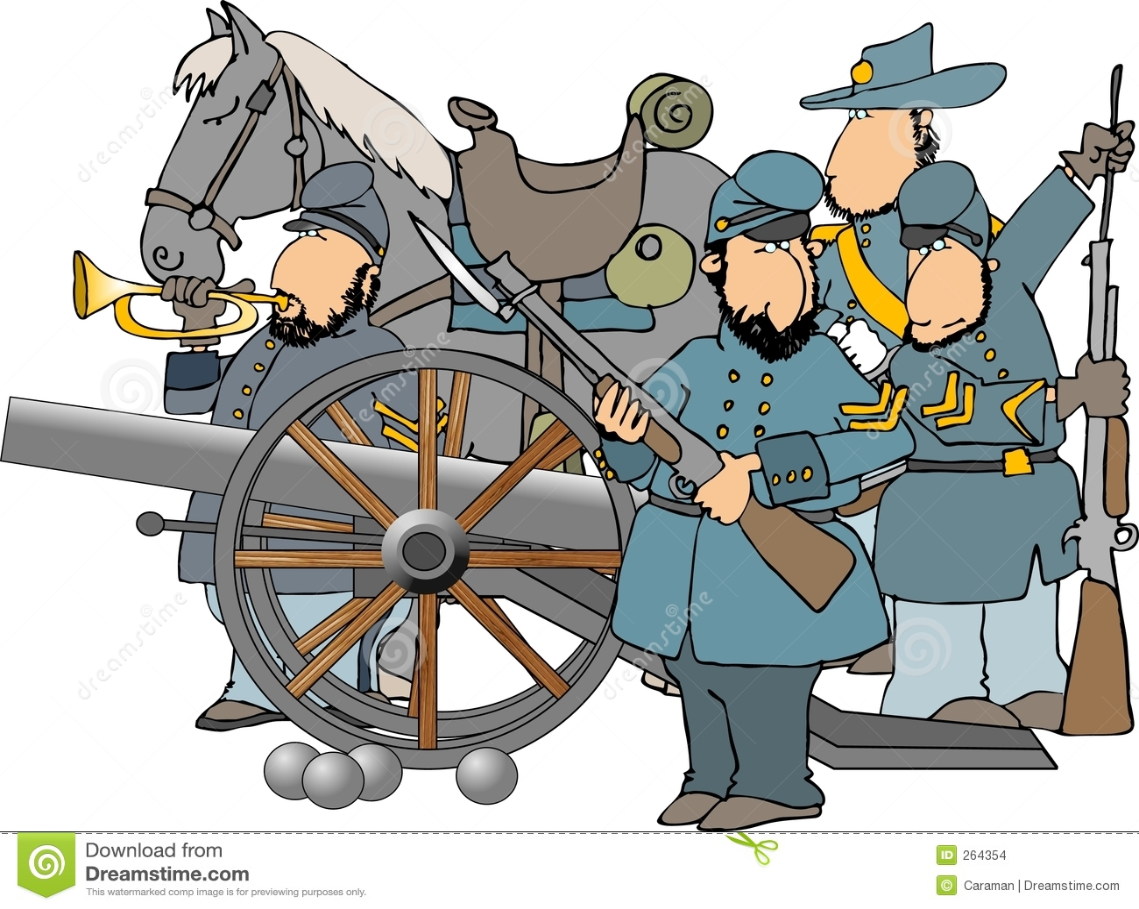 Que j'ai produite dépeint 4 soldats de guerre civile et un canon