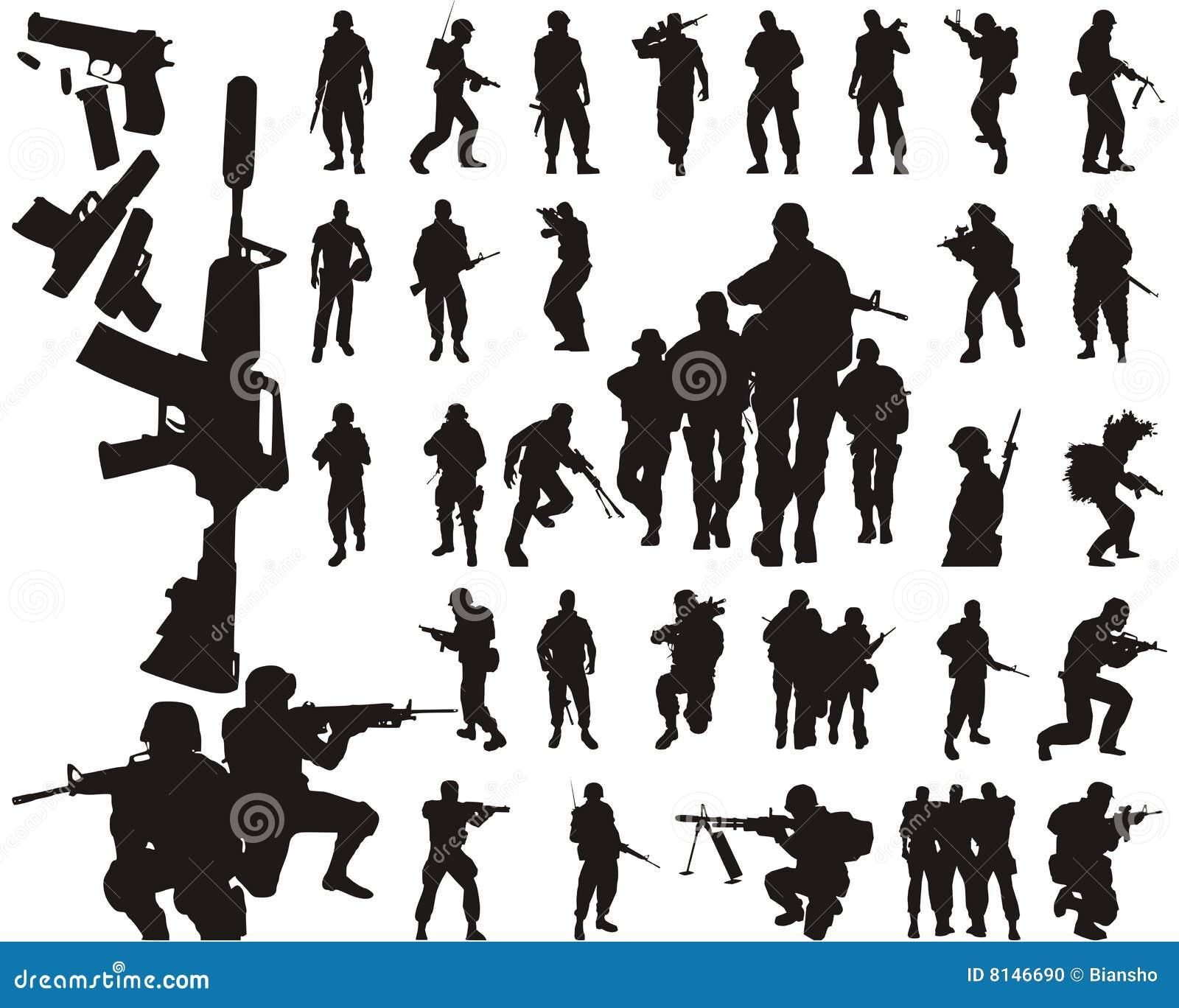 Soldatschattenbilder und -arme