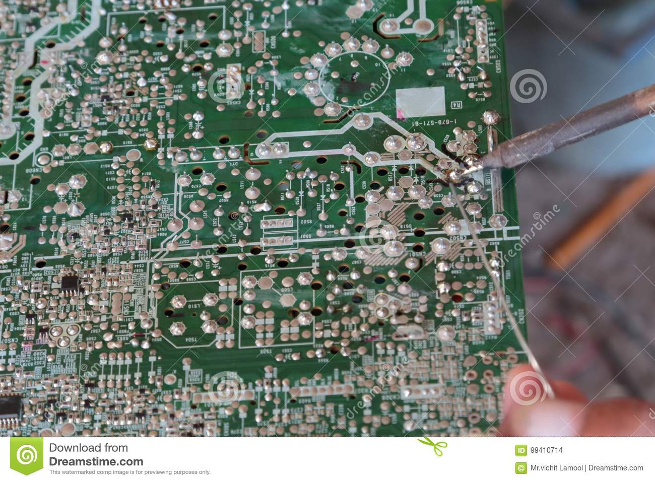 Soldering On Circuit Board With Solder Lead Stock Photo Image Of What To Use For Boards