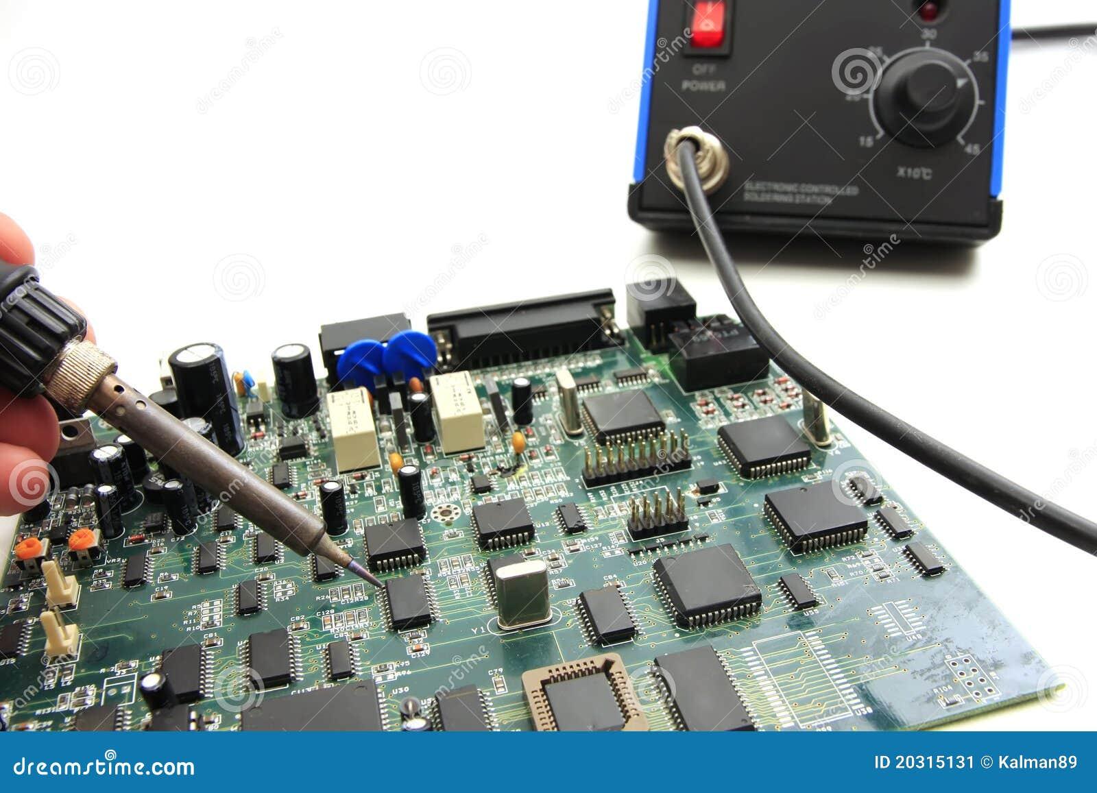 soldering circuit board stock image image 20315131. Black Bedroom Furniture Sets. Home Design Ideas