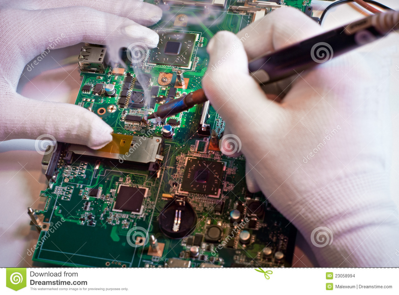 soldering a circuit board in service laboratory stock images image 23058994. Black Bedroom Furniture Sets. Home Design Ideas
