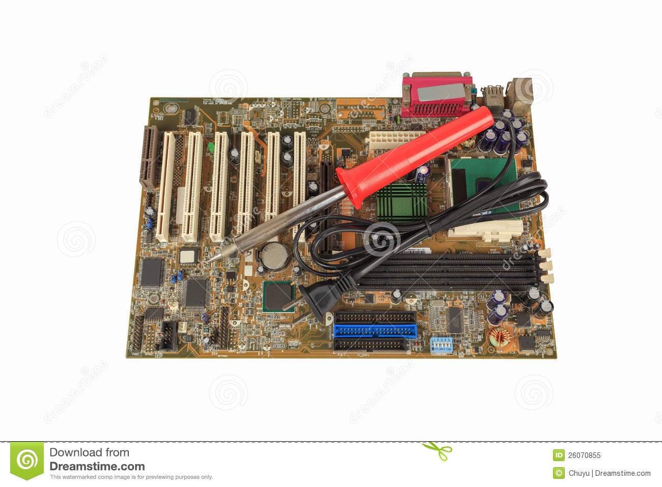 soldering iron on computer motherboard royalty free stock photo image 26070855. Black Bedroom Furniture Sets. Home Design Ideas