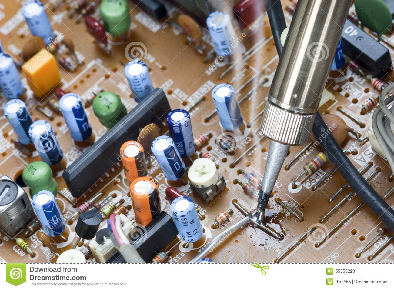 soldering iron ,repair electronic boards stock photo image of