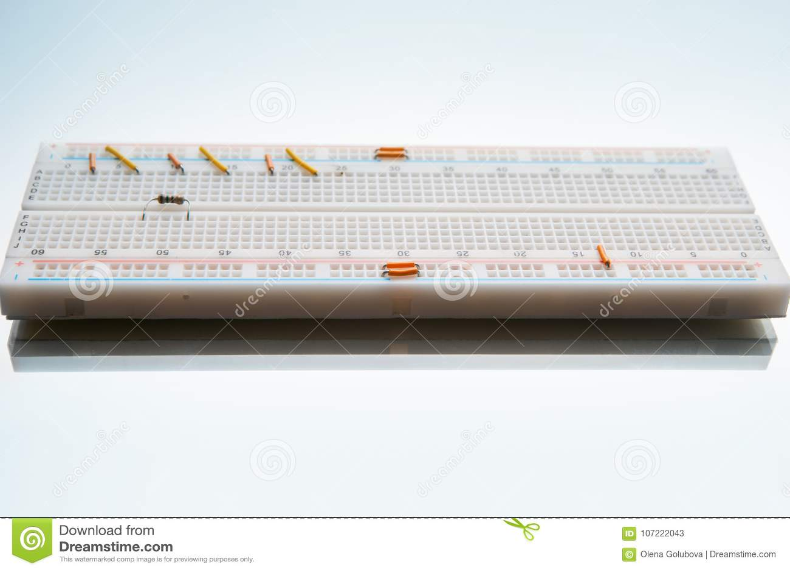 Solderless Circuit Breadboard Electronics Design Stock Image Schematic Diagram Supply