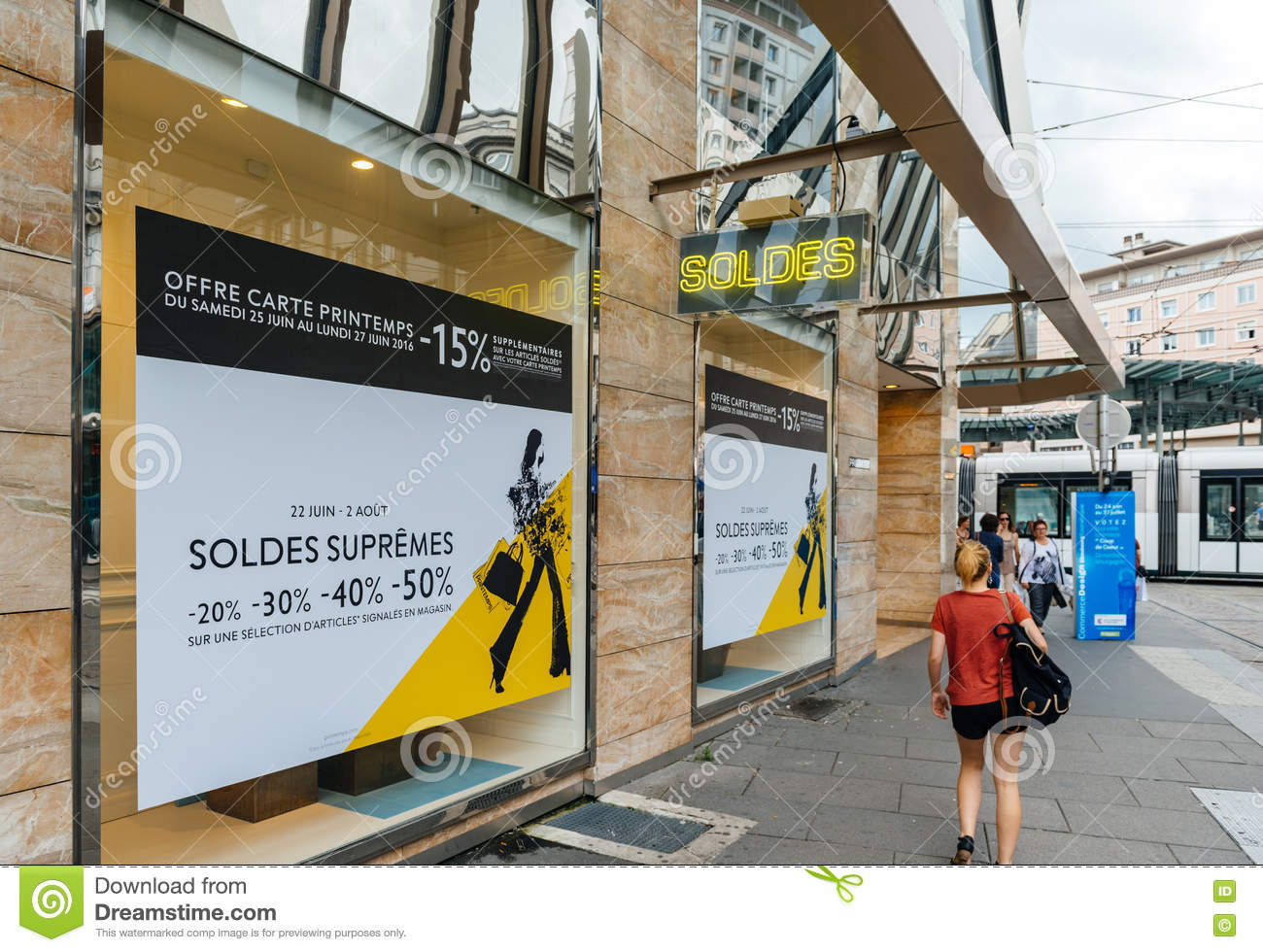 8ef36b2ffe8d7 Soldes Sales In French City With Pedestrians Editorial Image - Image ...