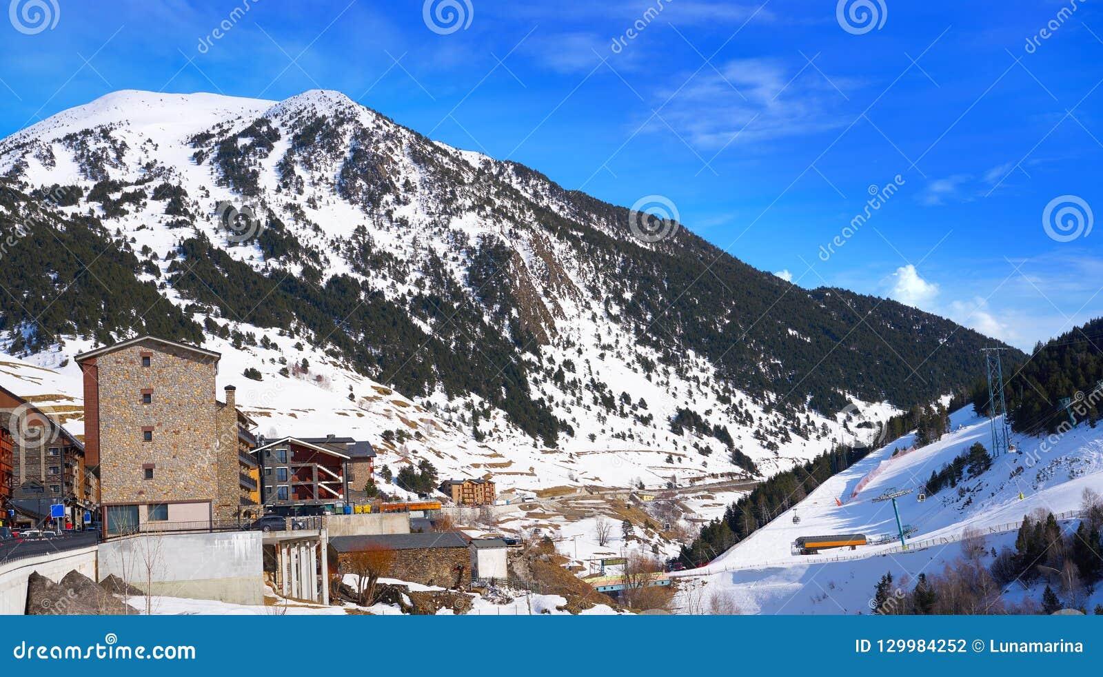 soldeu ski resort in andorra at grandvalira stock photo - image of