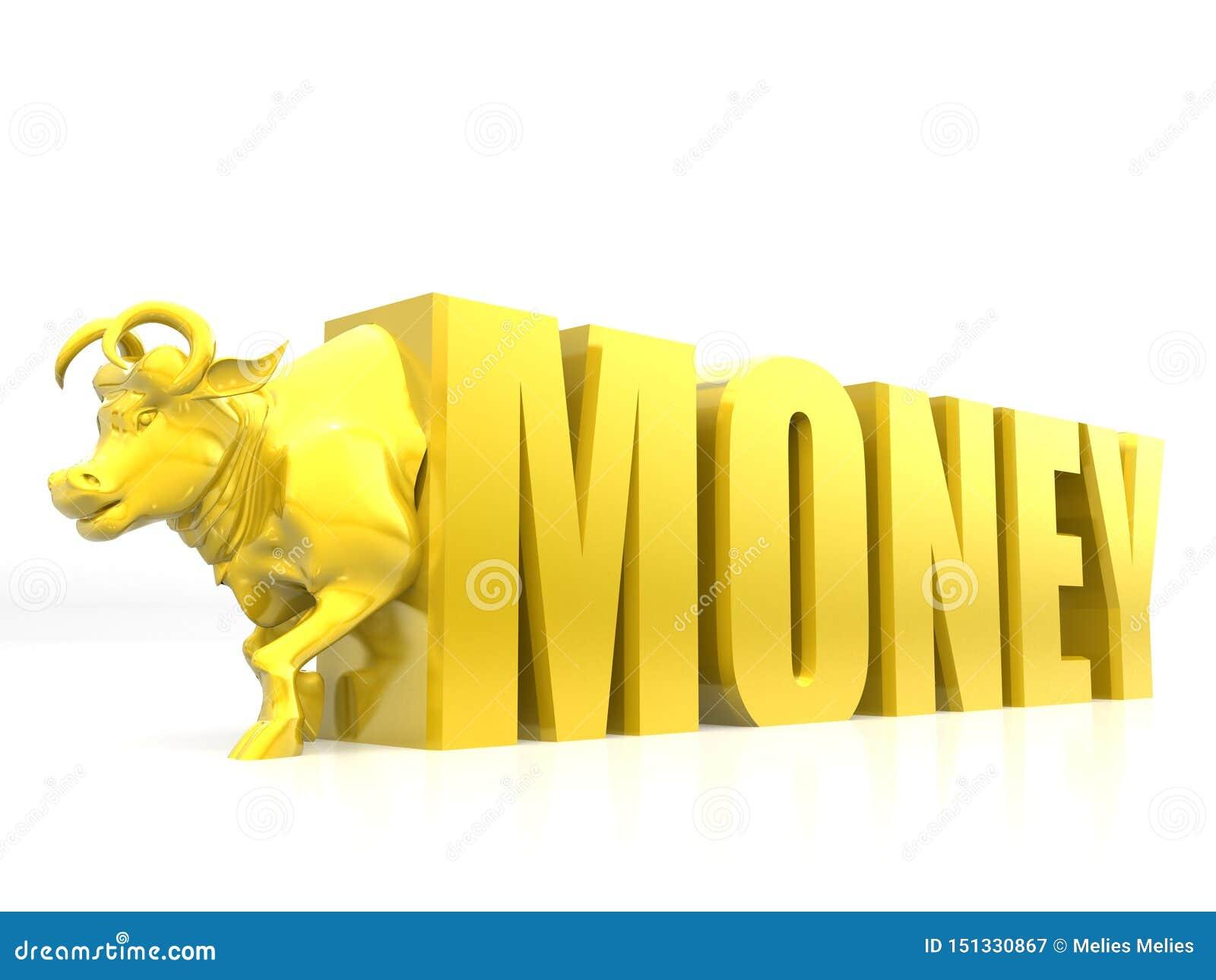 Soldi con il toro, colore dorato, rappresentazione di concetto 3D di successo di affari isolata su fondo bianco