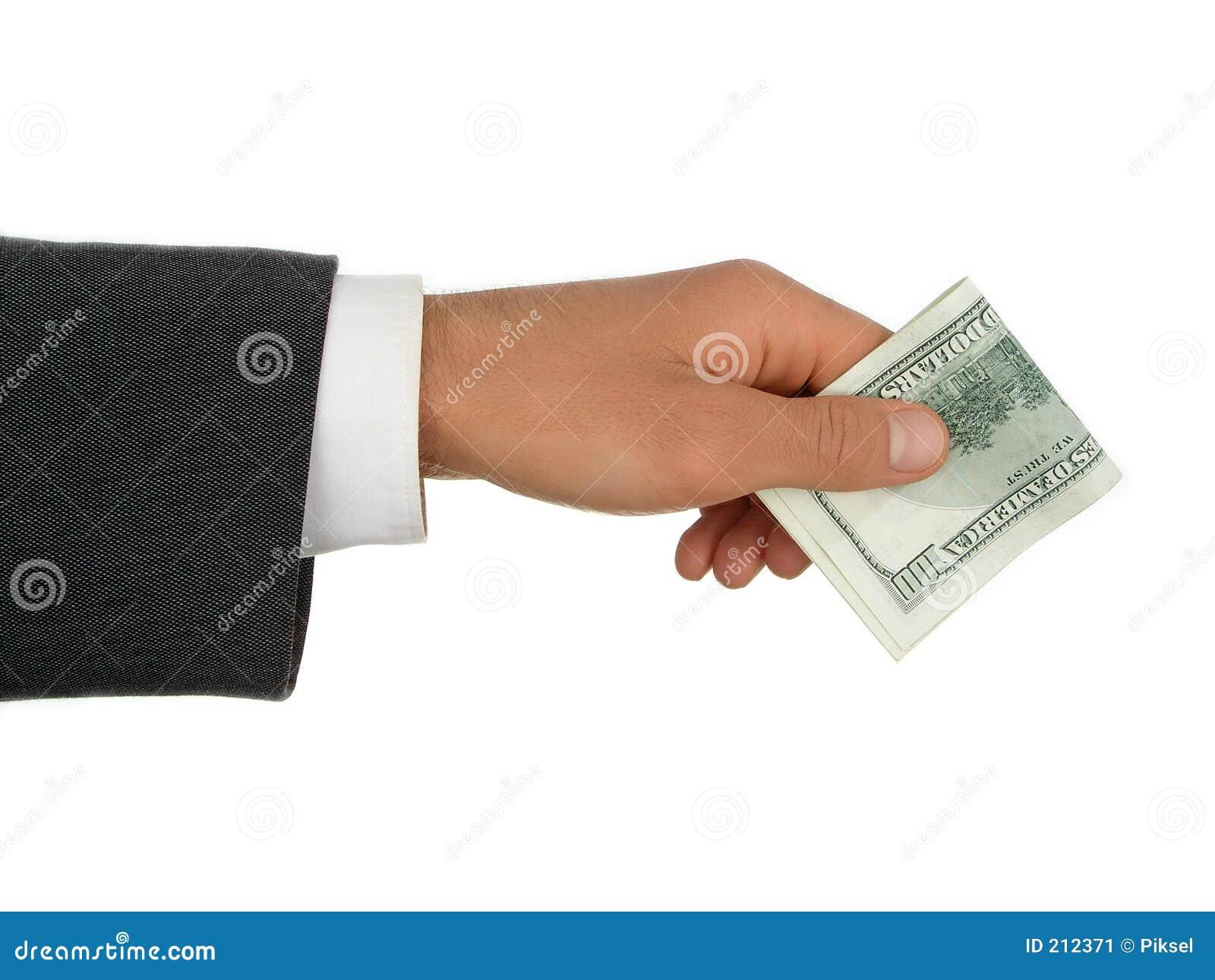 Soldi d offerta della mano dell uomo.