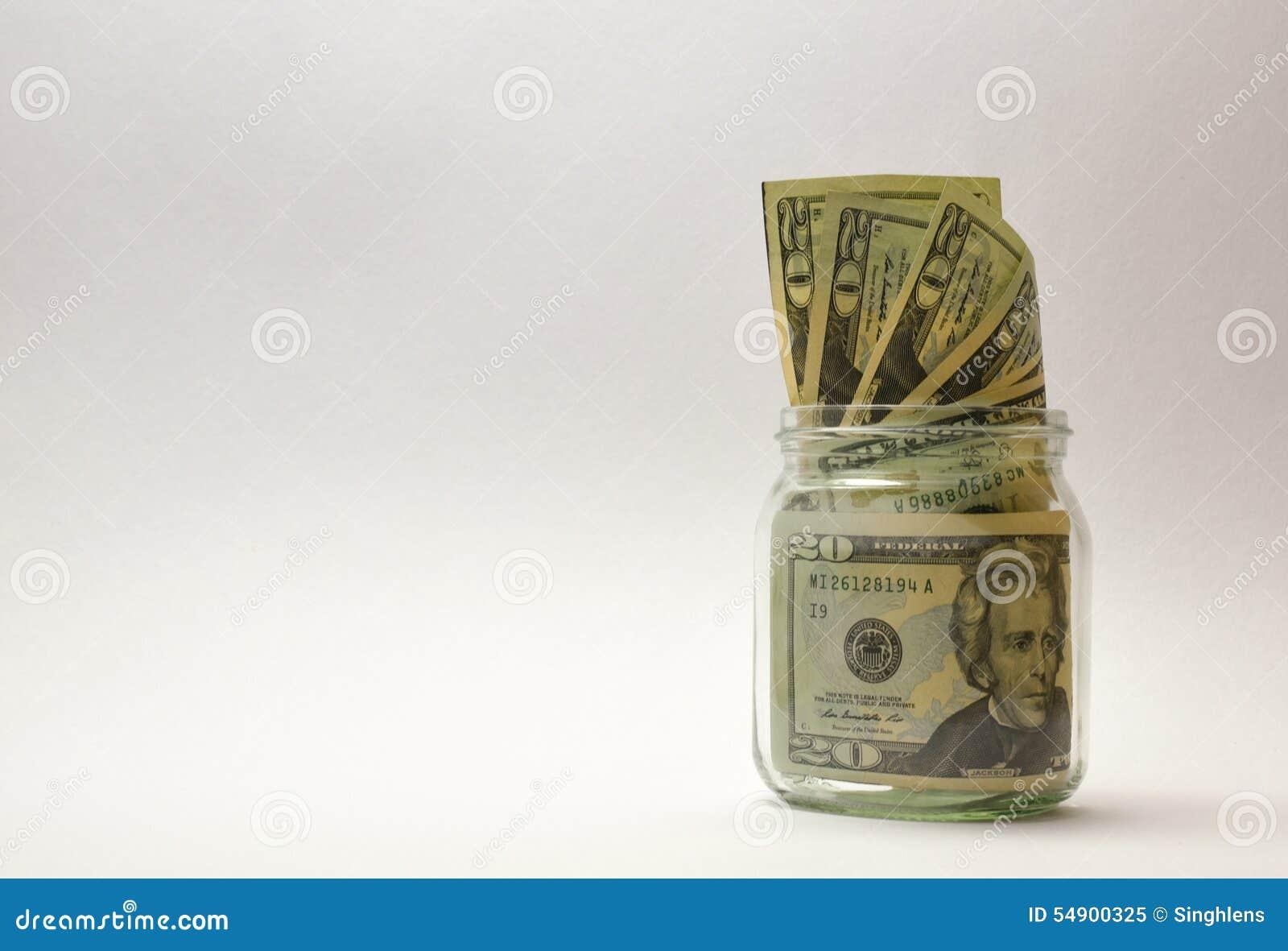 Soldi degli Stati Uniti o valuta o dollari in barattolo di vetro