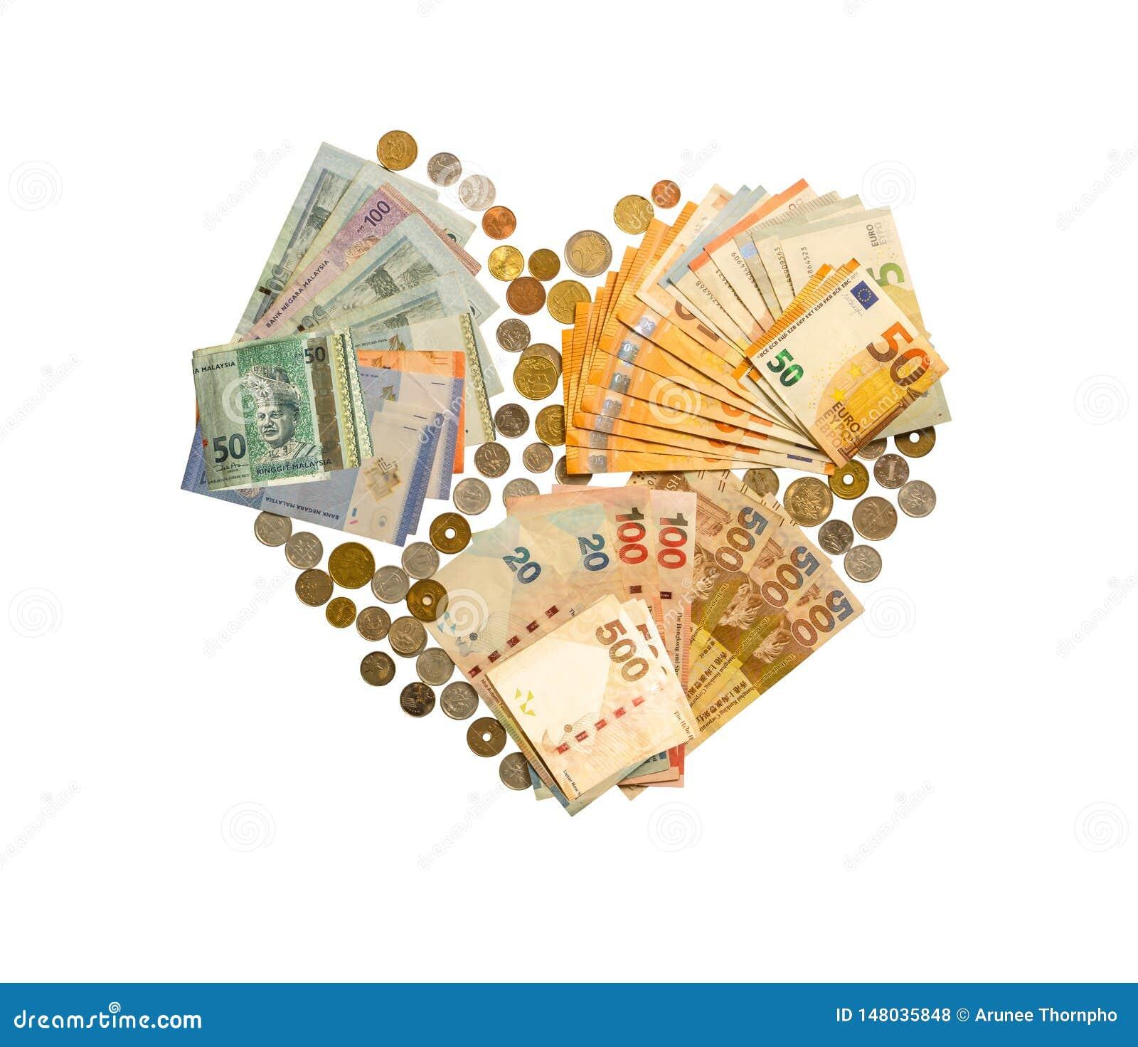 Soldi internazionali isolati su fondo bianco con il percorso di ritaglio, i contanti compreso la banconota dell europeo, di Hong