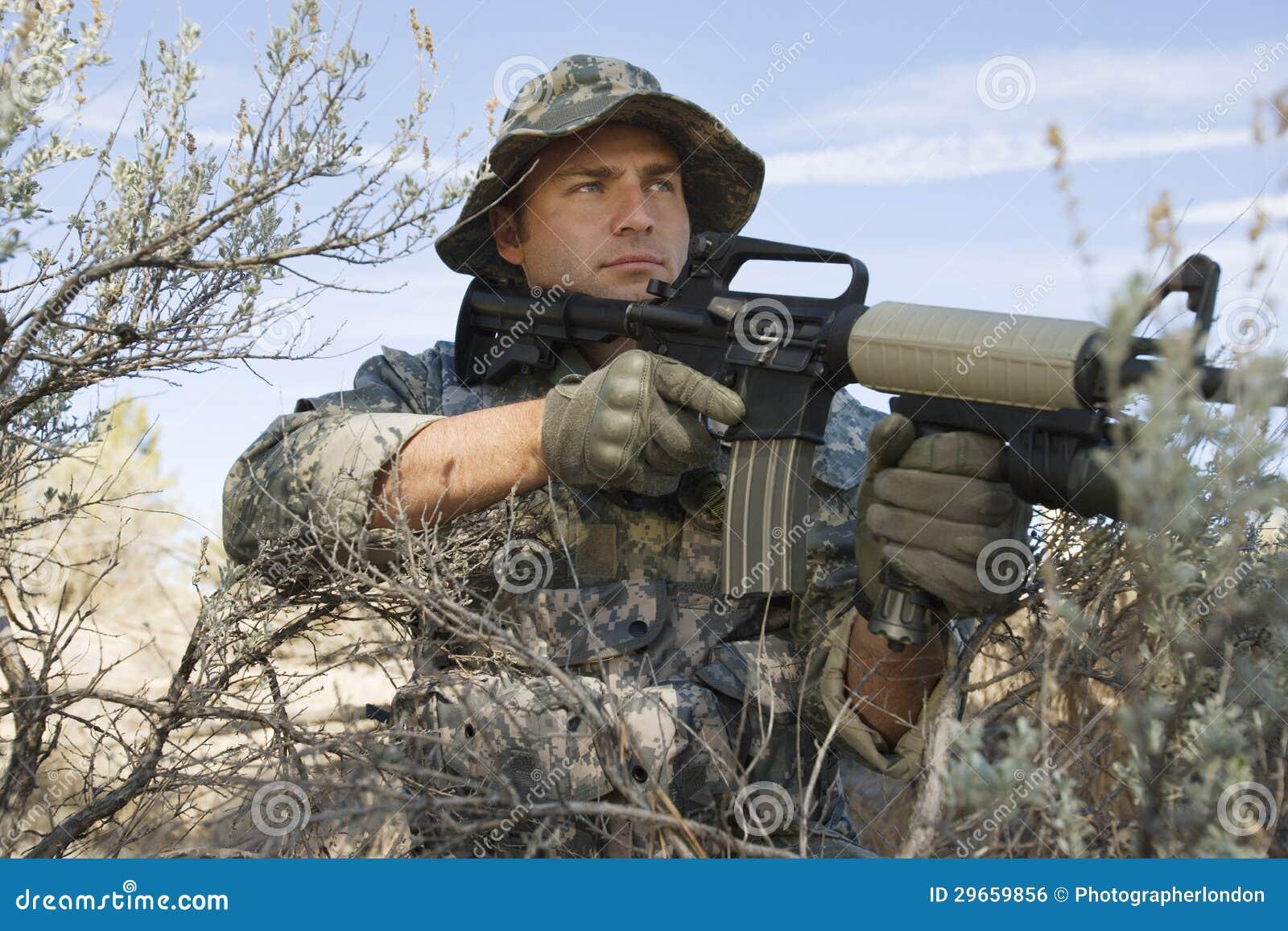Soldier Aiming Machine Gun Stock Photo Image Of