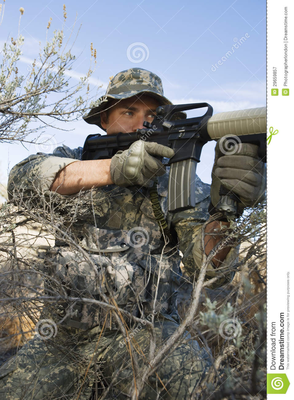 Soldier Aiming Machine Gun Stock Image Image Of Camouflage