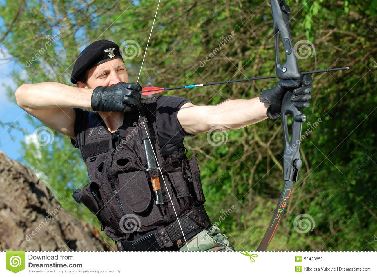 soldier with bow and arrow stock image  image of weapon