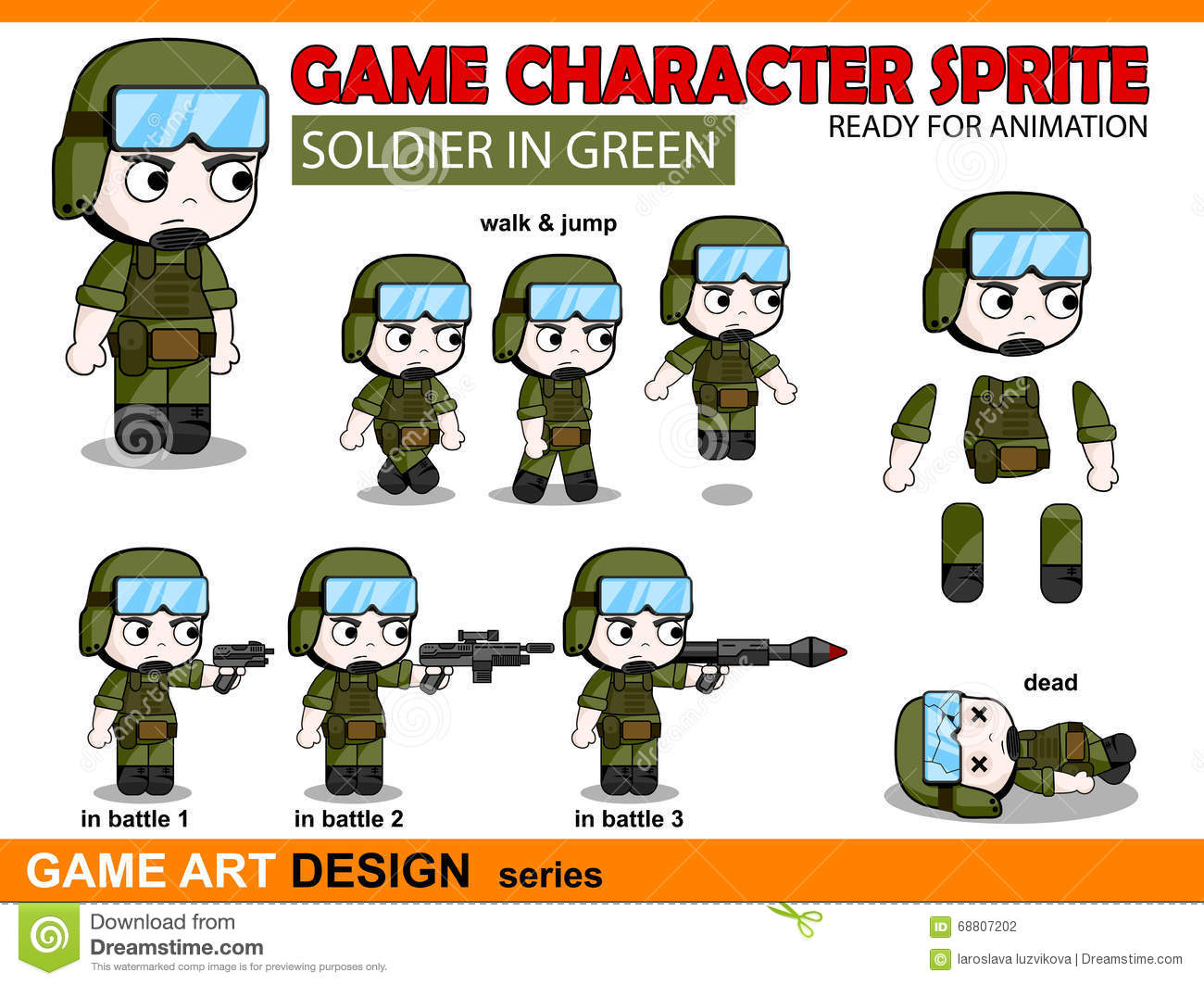 Soldier Character Game Sprite In Chibi Anime Style Stock ...