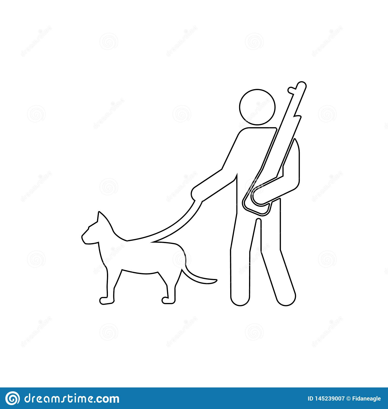 Soldier, dog, gun, canine outline icon. Can be used for web, logo, mobile app, UI UX